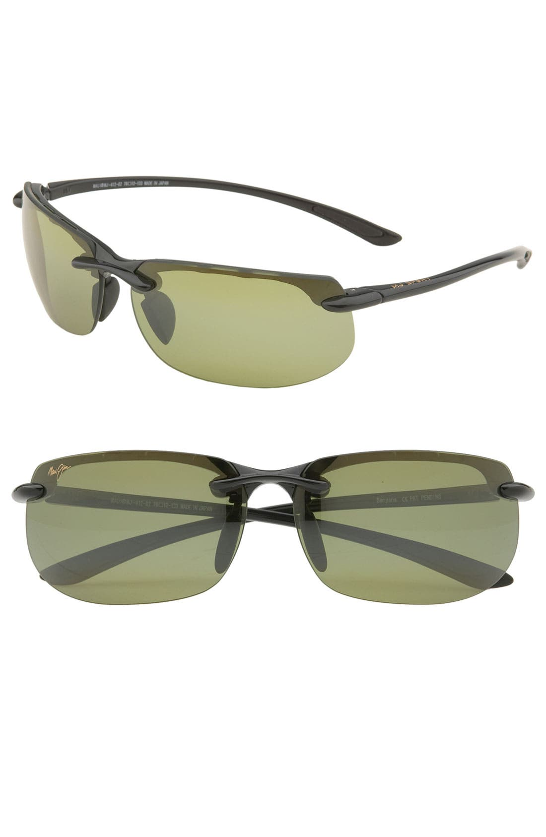'Banyans - PolarizedPlus<sup>®</sup>2' 67mm Sunglasses, Main, color, GLOSS BLACK / HT LENS