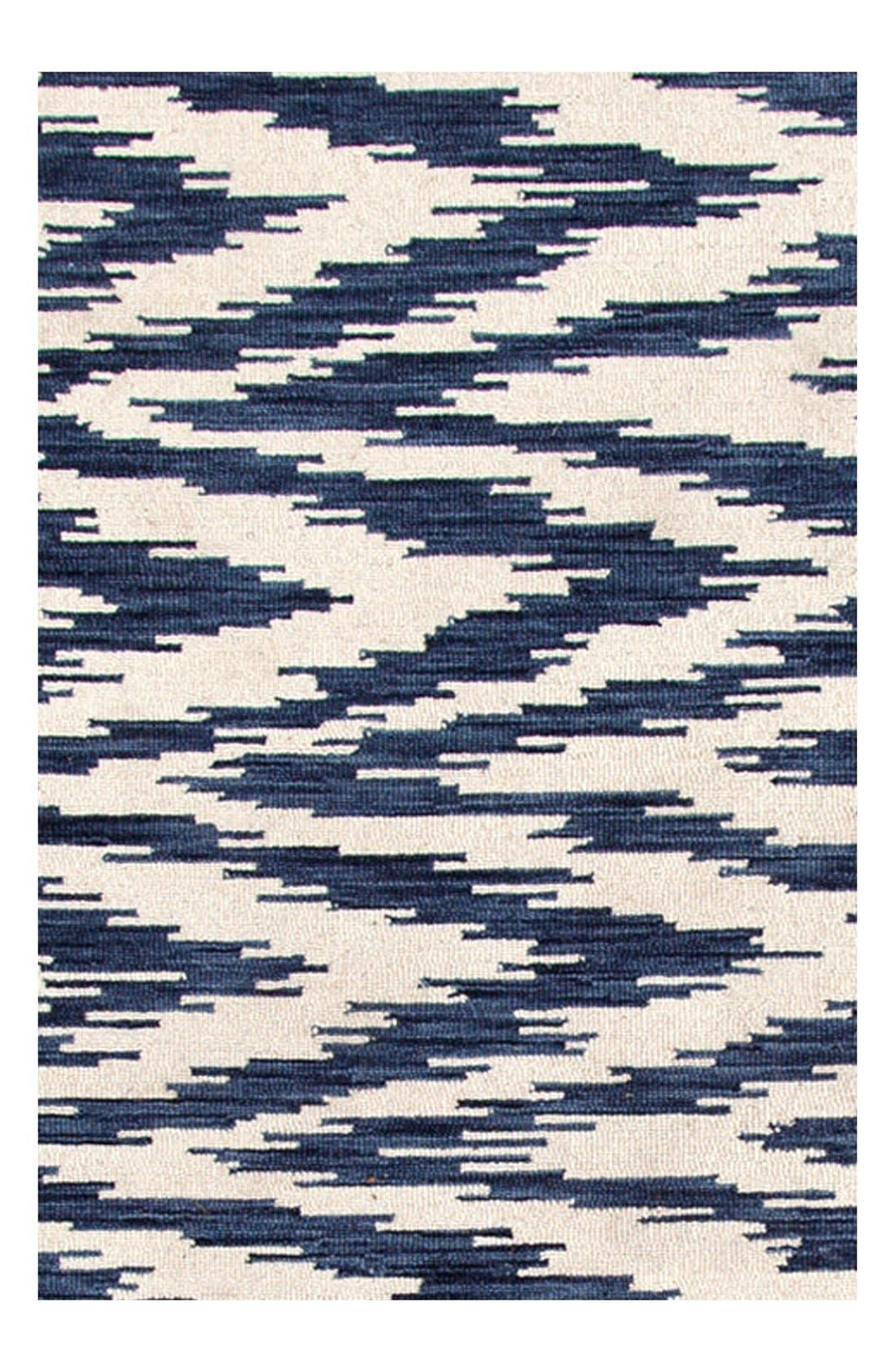 'Chekat Ink' Wool Rug,                             Alternate thumbnail 3, color,                             BLUE