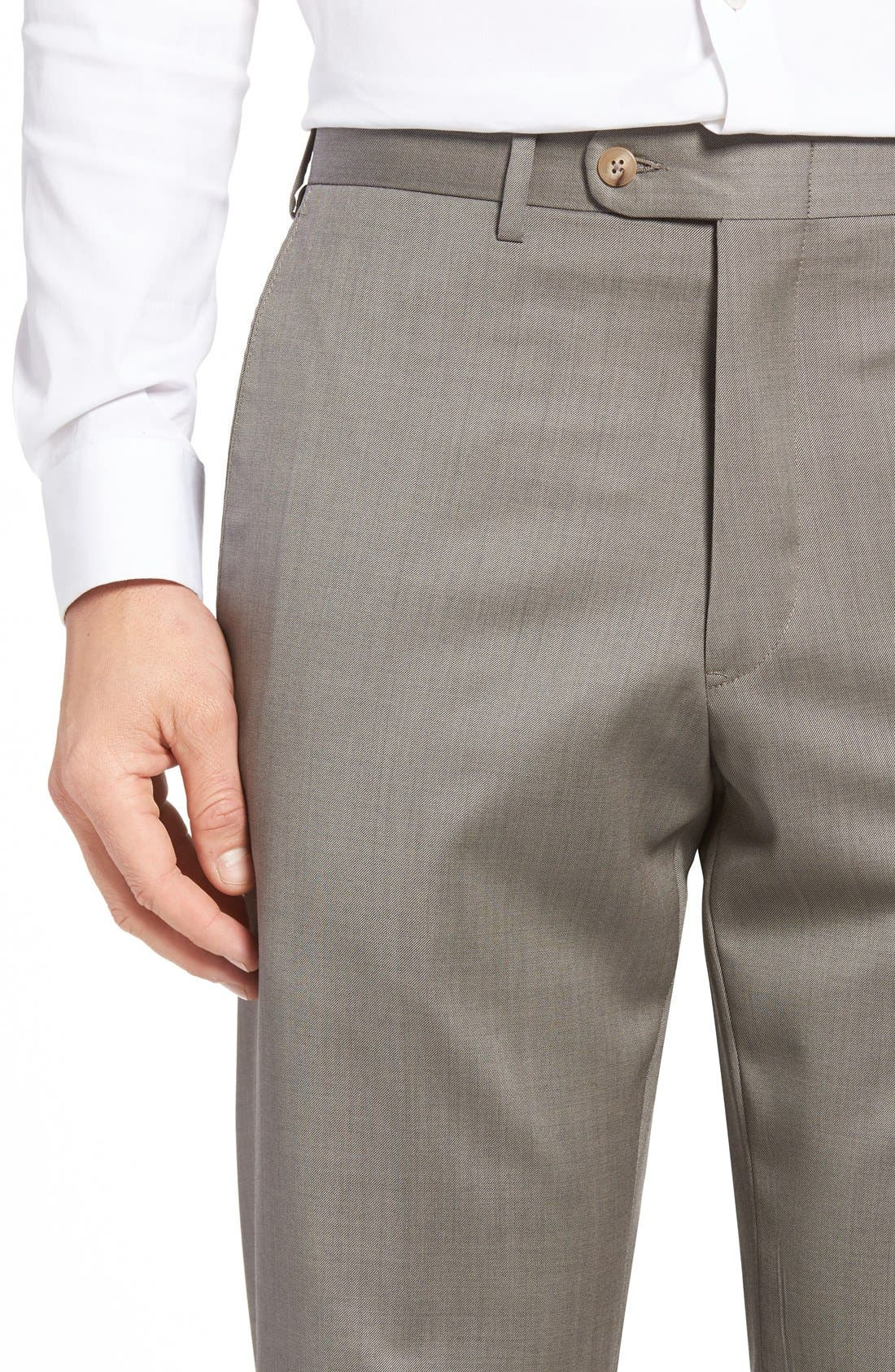 Flat Front Worsted Wool Trousers,                             Alternate thumbnail 32, color,