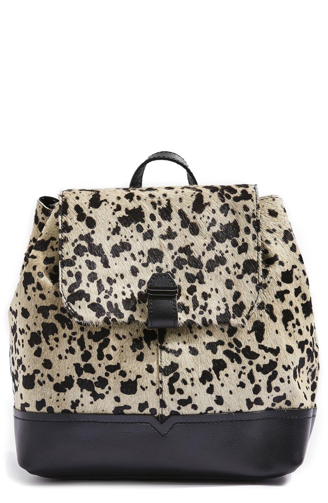 TOPSHOP Premium Leather & Genuine Calf Hair Backpack, Main, color, 100