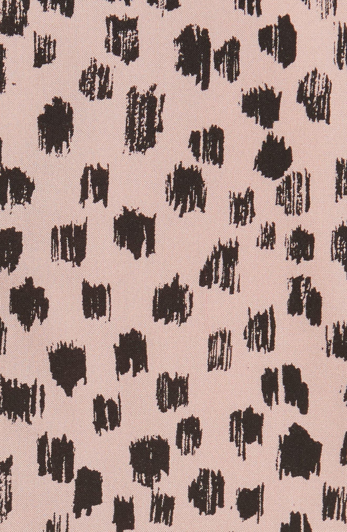 Karinkalt Leather Trim Print Dress,                             Alternate thumbnail 5, color,                             683
