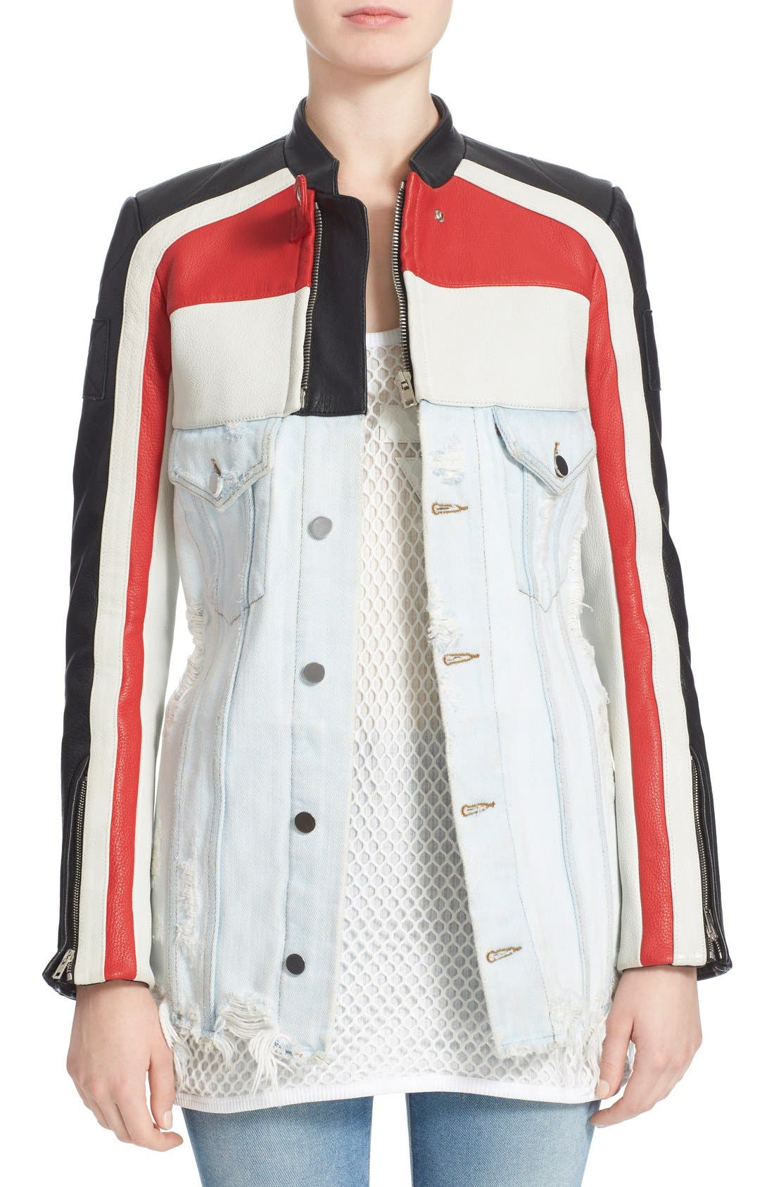 Hybrid Moto & Denim Jacket,                             Main thumbnail 1, color,                             001
