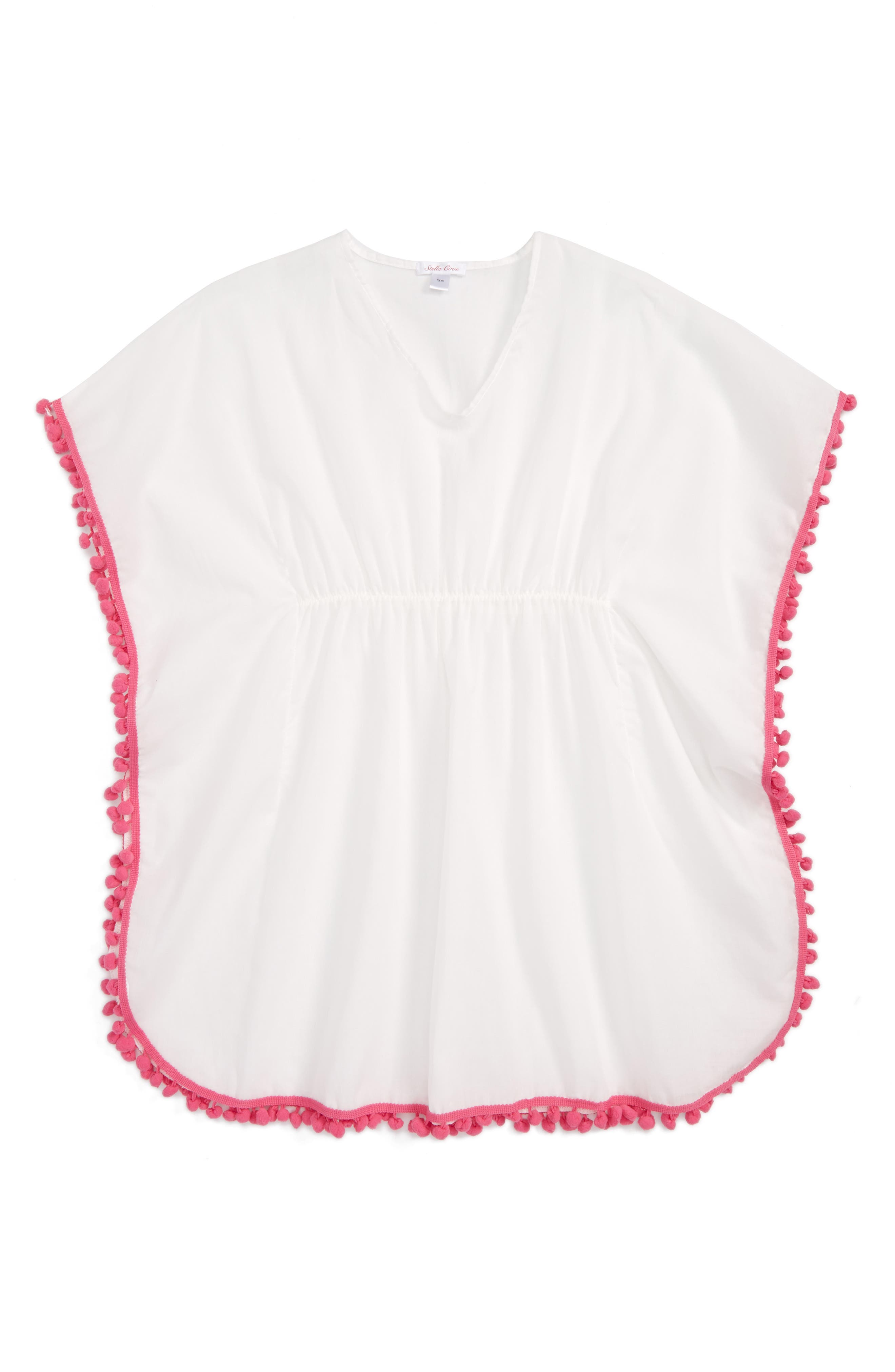 Pompom Cover-Up Poncho,                             Main thumbnail 1, color,                             100