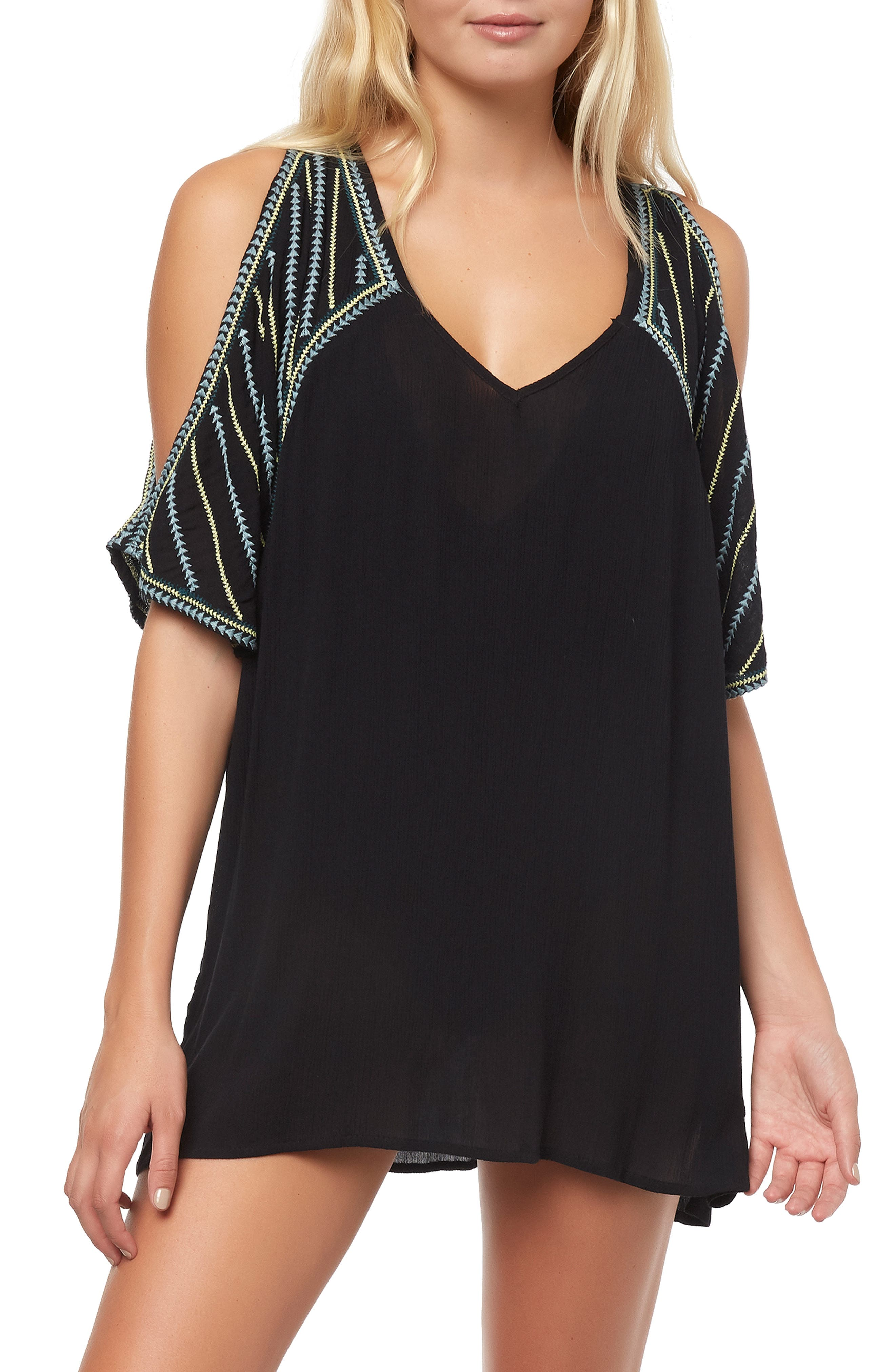 Fran Tunic Cover-Up, Main, color, BLACK
