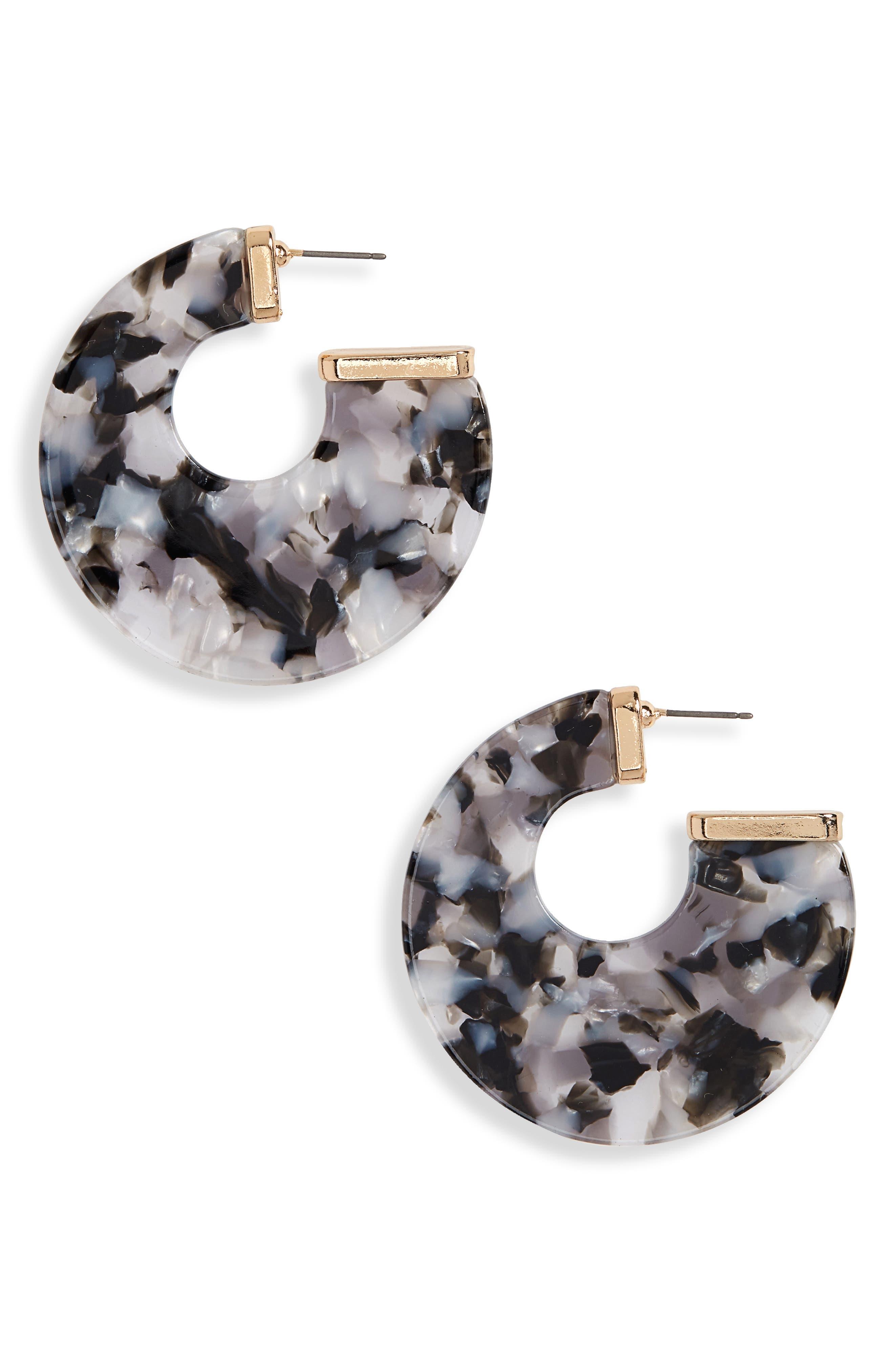 Flat Resin Hoop Earrings,                         Main,                         color, 001