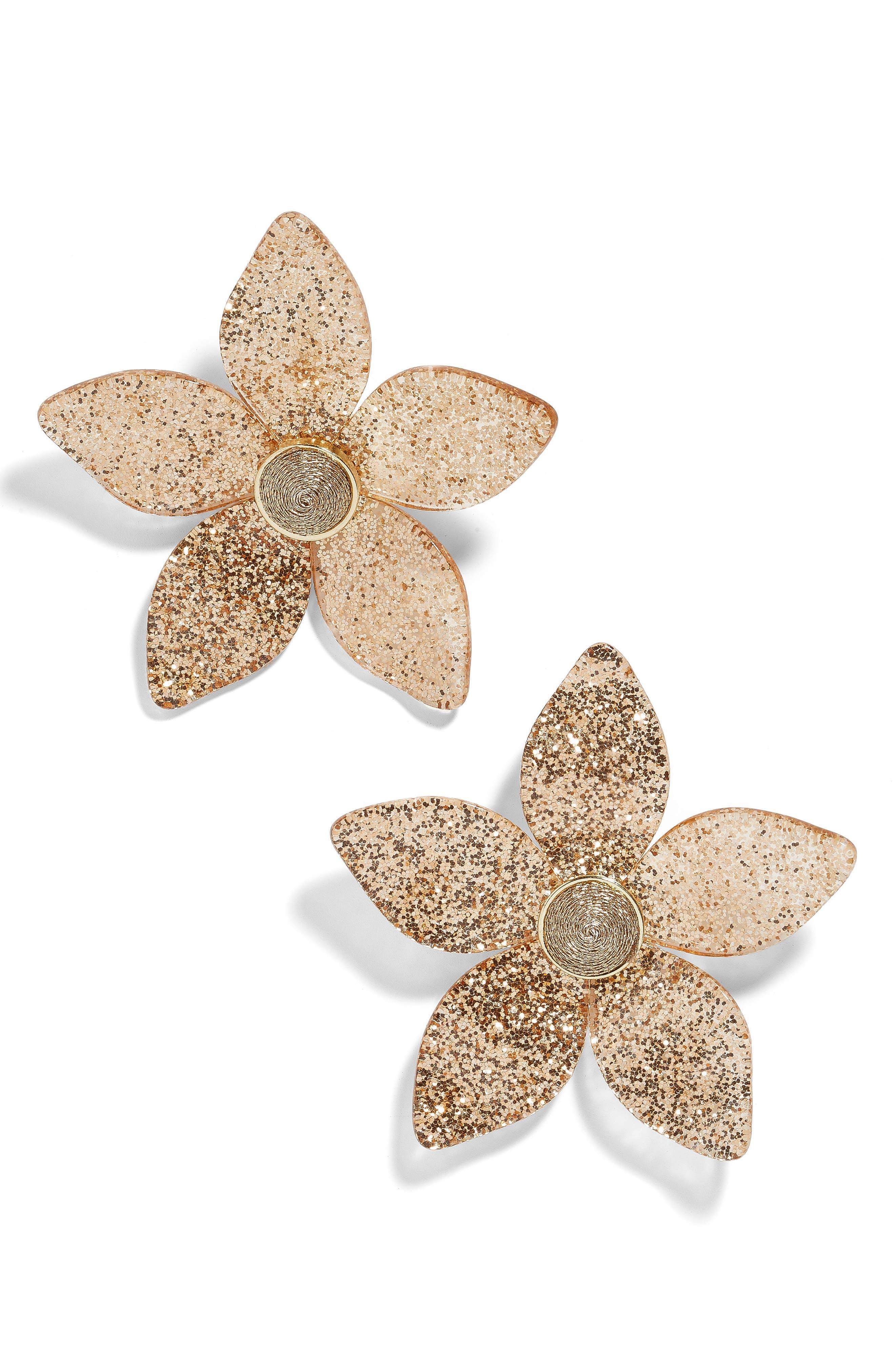BAUBLEBAR Glitter Resin Flower Earrings, Main, color, 710
