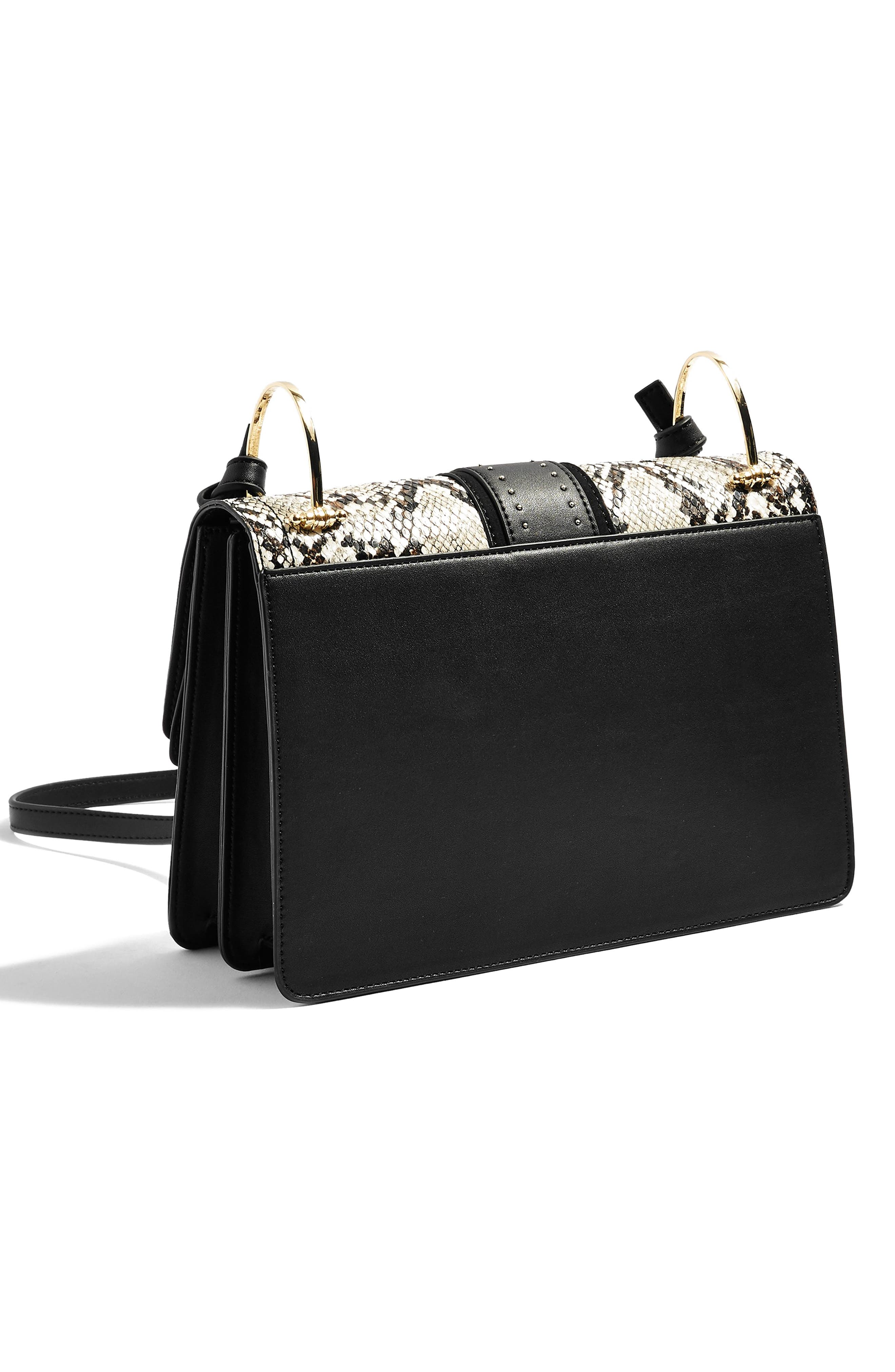Suri Snake Effect Shoulder Bag,                             Alternate thumbnail 3, color,                             BLACK MULTI