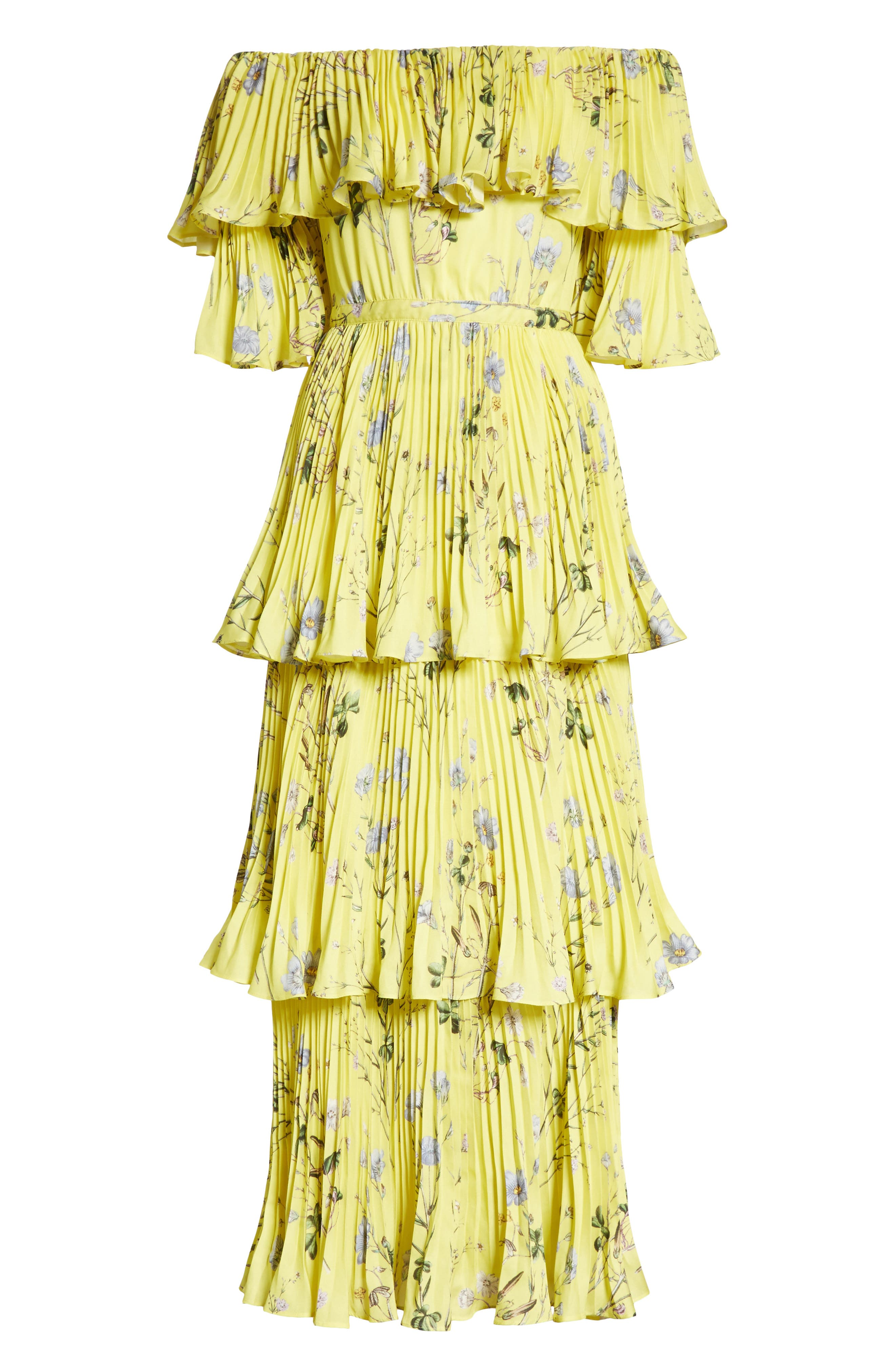 Floral Pleated Tiered Dress,                             Alternate thumbnail 6, color,                             700