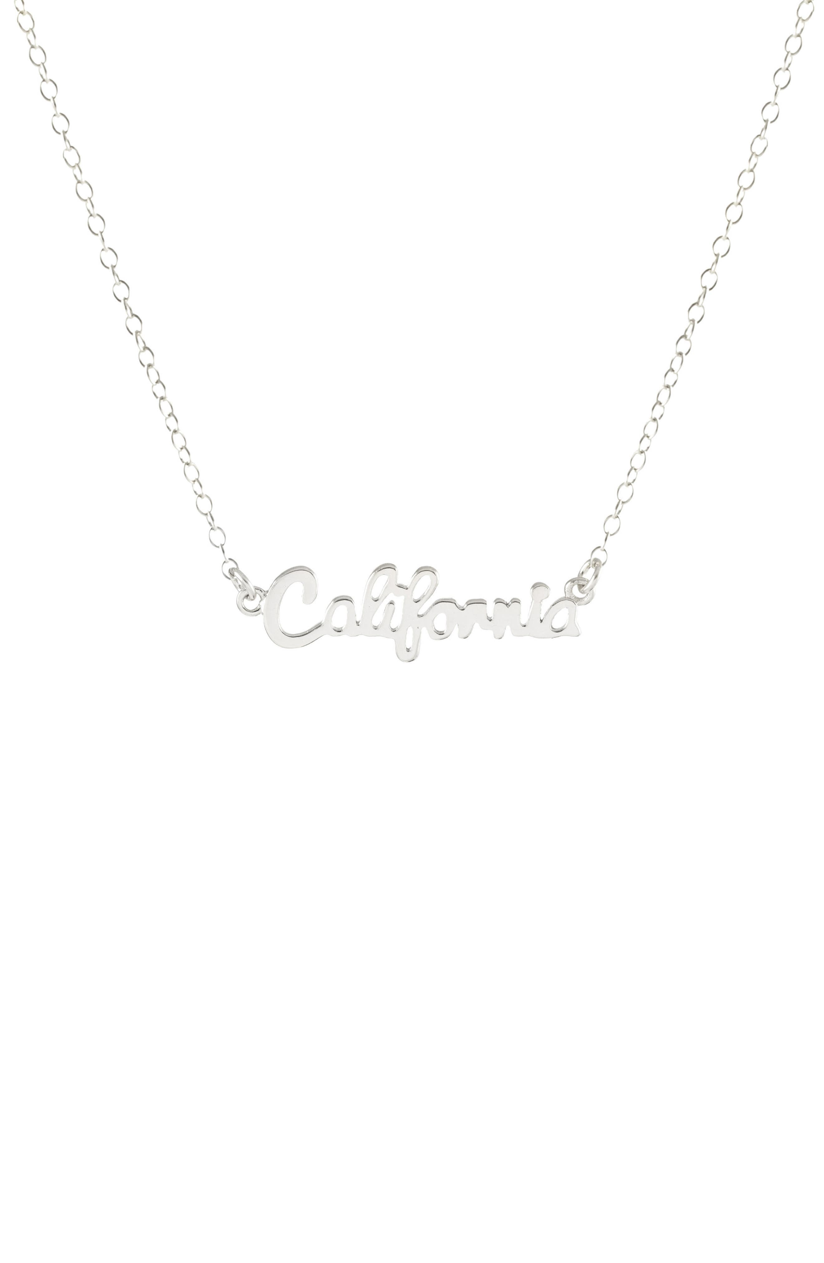 State Script Charm Necklace,                             Main thumbnail 1, color,                             CALIFORNIA - SILVER