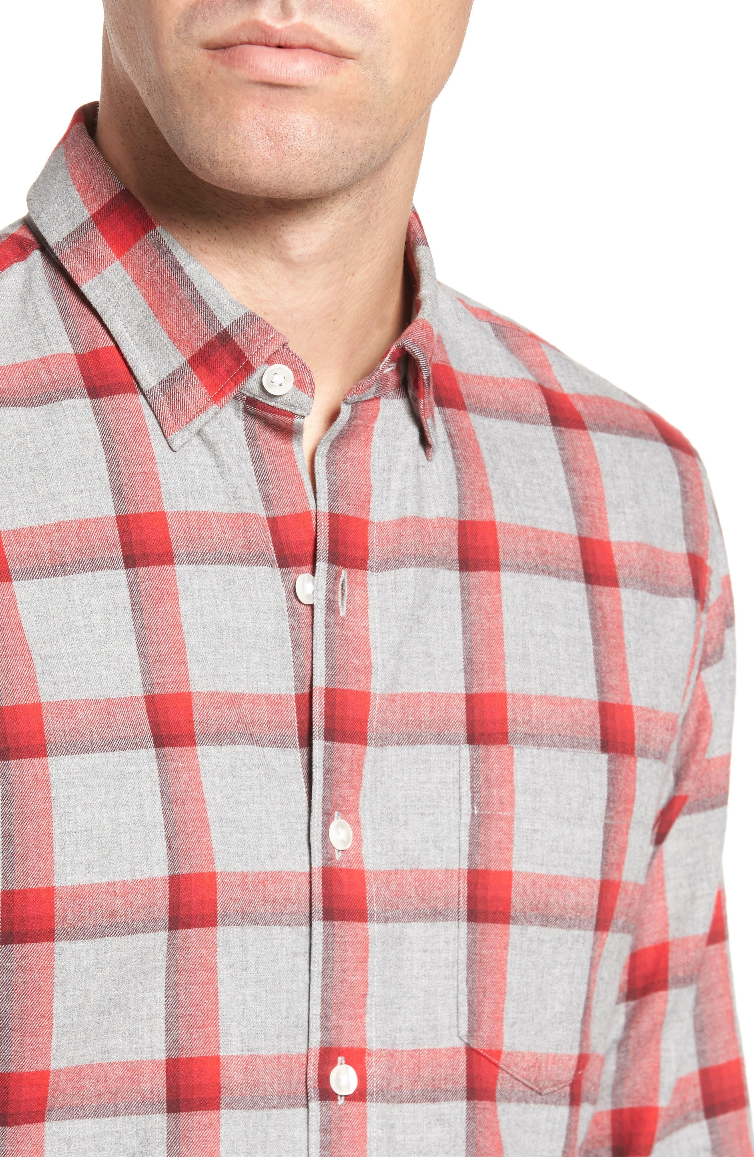 Slim Fit Brushed Check Sport Shirt,                             Alternate thumbnail 4, color,                             020