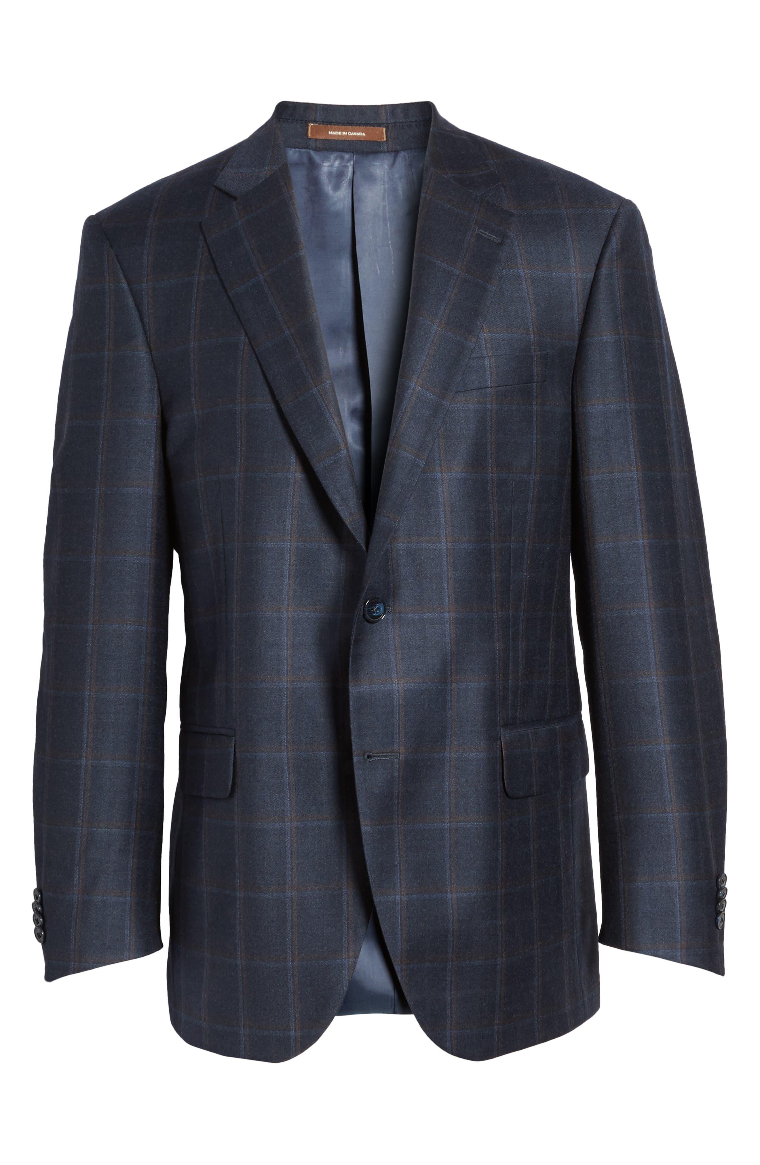 Flynn Classic Fit Plaid Wool & Cashmere Sport Coat,                             Alternate thumbnail 5, color,                             410