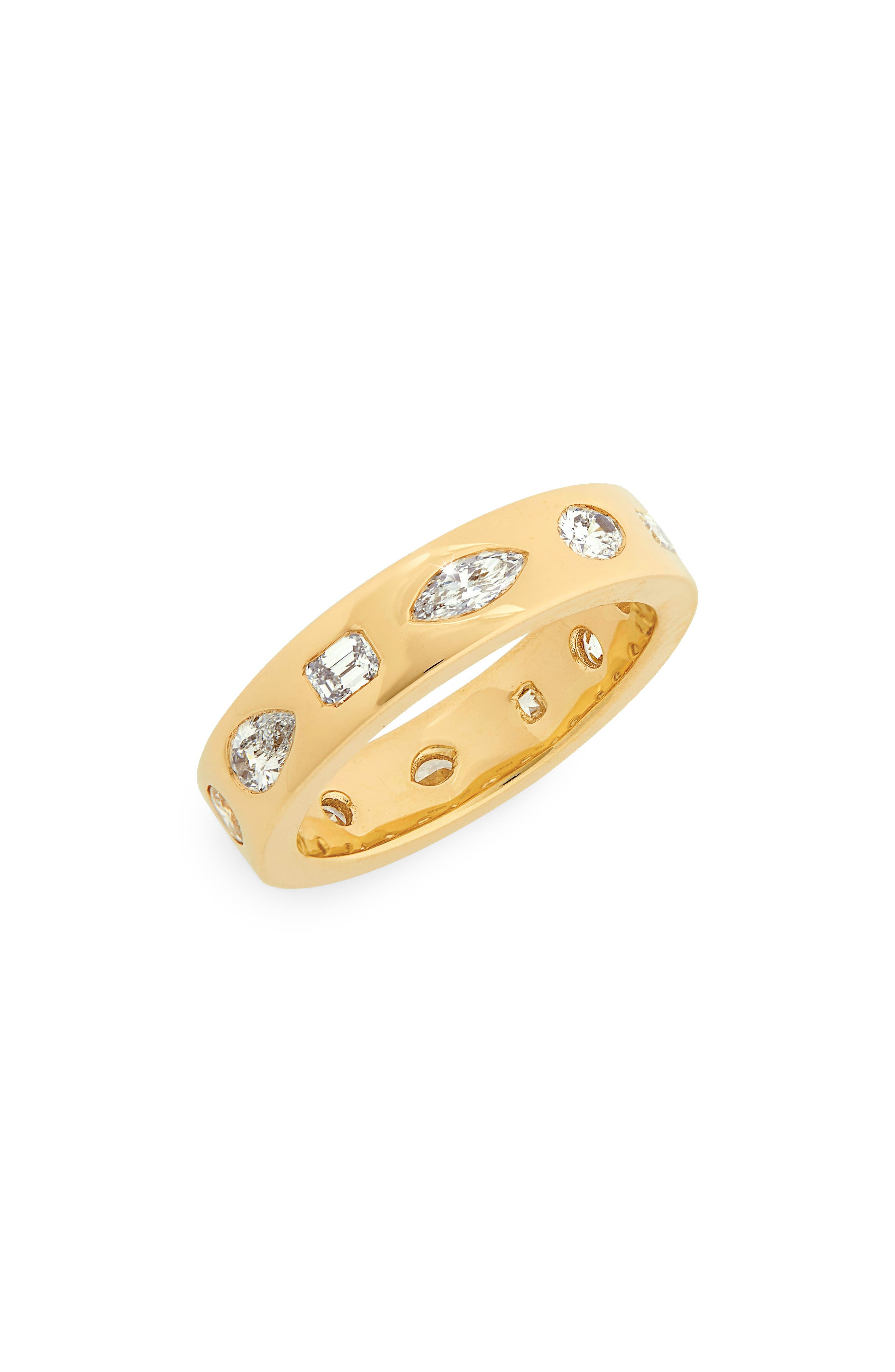 Multi Shape Diamond Stacking Ring, Main, color, YELLOW GOLD