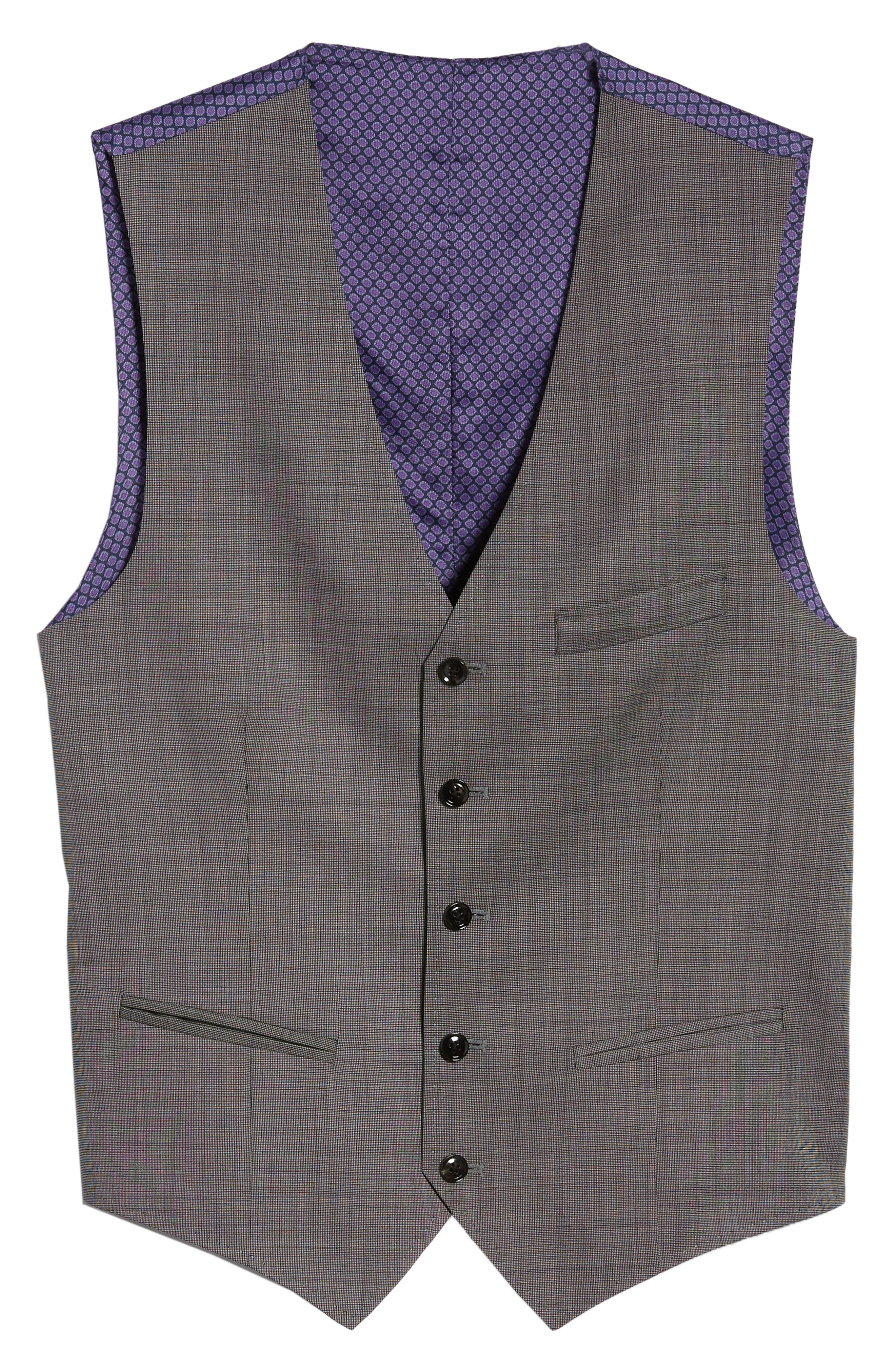 Troy Trim Fit Solid Wool Vest,                             Alternate thumbnail 5, color,                             LIGHT GREY