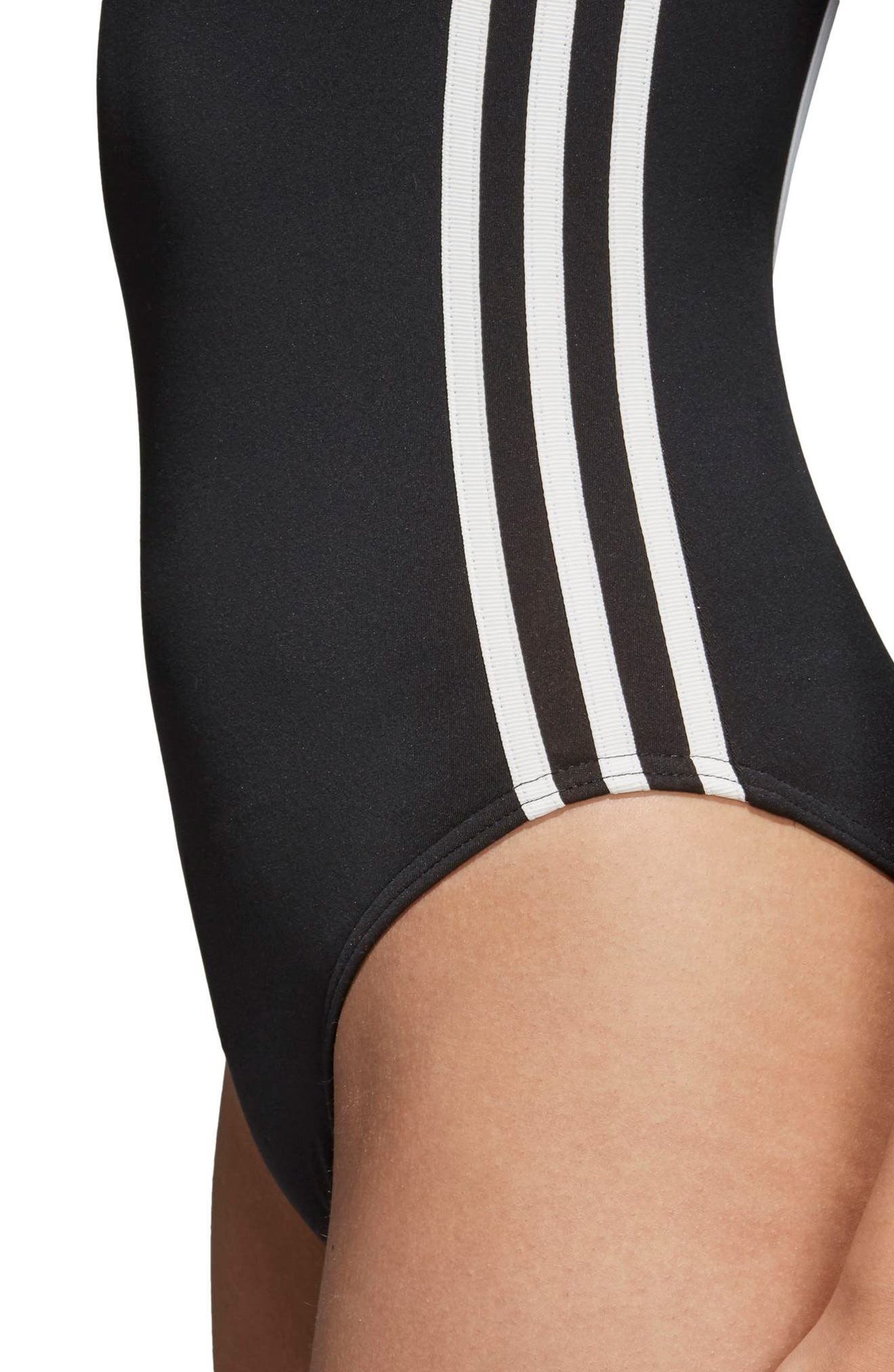 3-Stripes Bodysuit,                             Alternate thumbnail 6, color,                             BLACK
