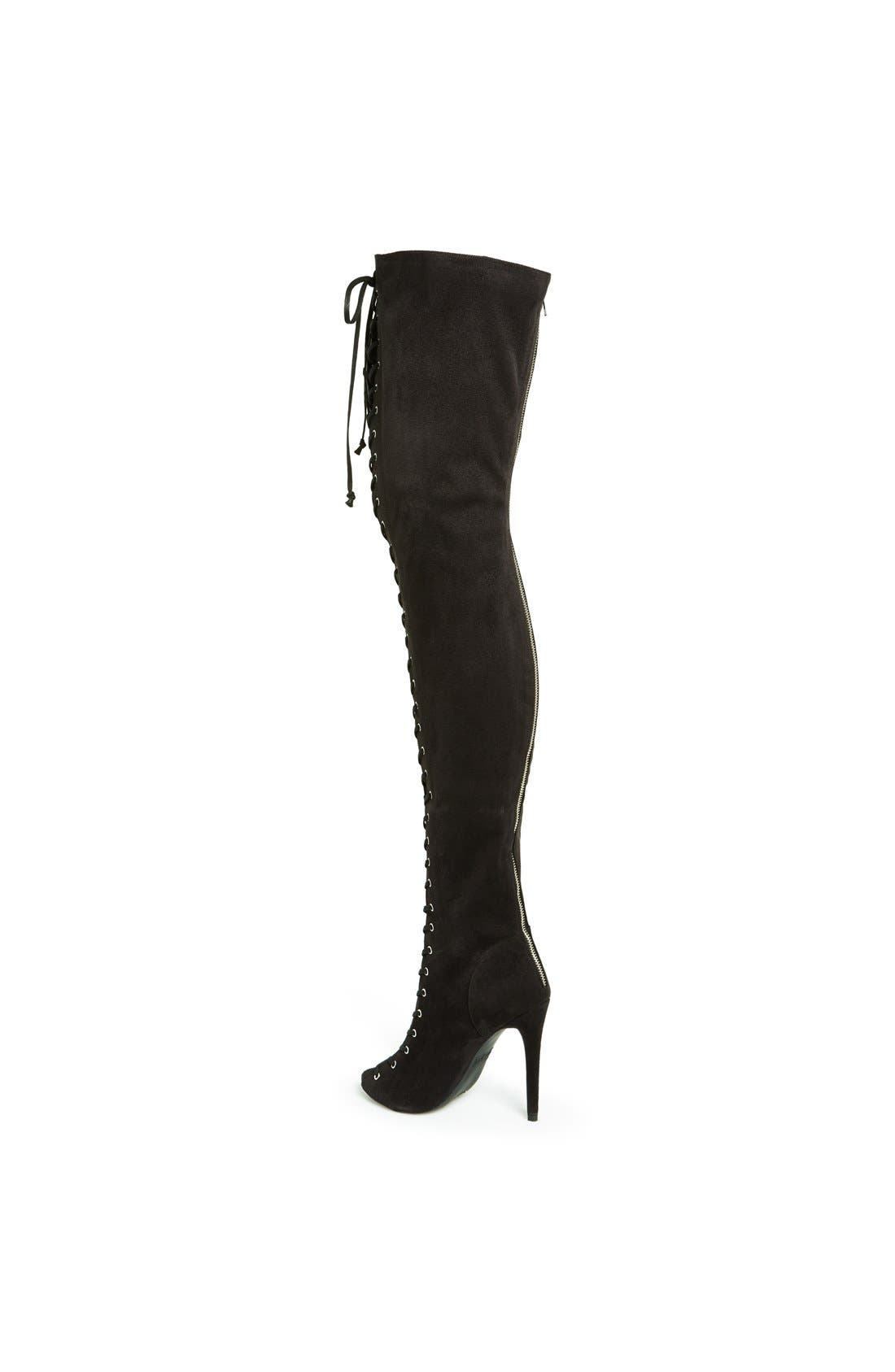 'Piarry' Lace-Up Thigh-High Boot,                             Alternate thumbnail 2, color,                             001