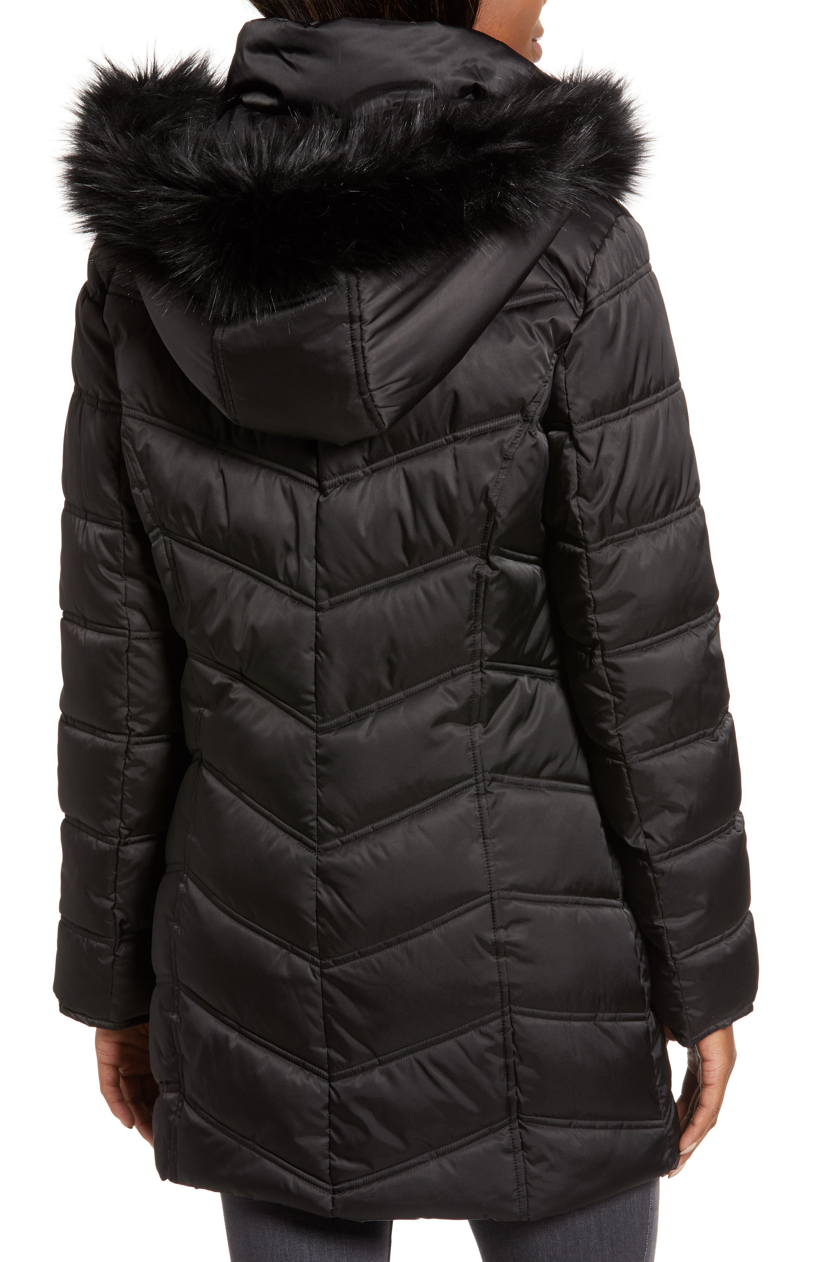 Faux Fur Trim Puffer Jacket,                             Alternate thumbnail 2, color,                             BLACK
