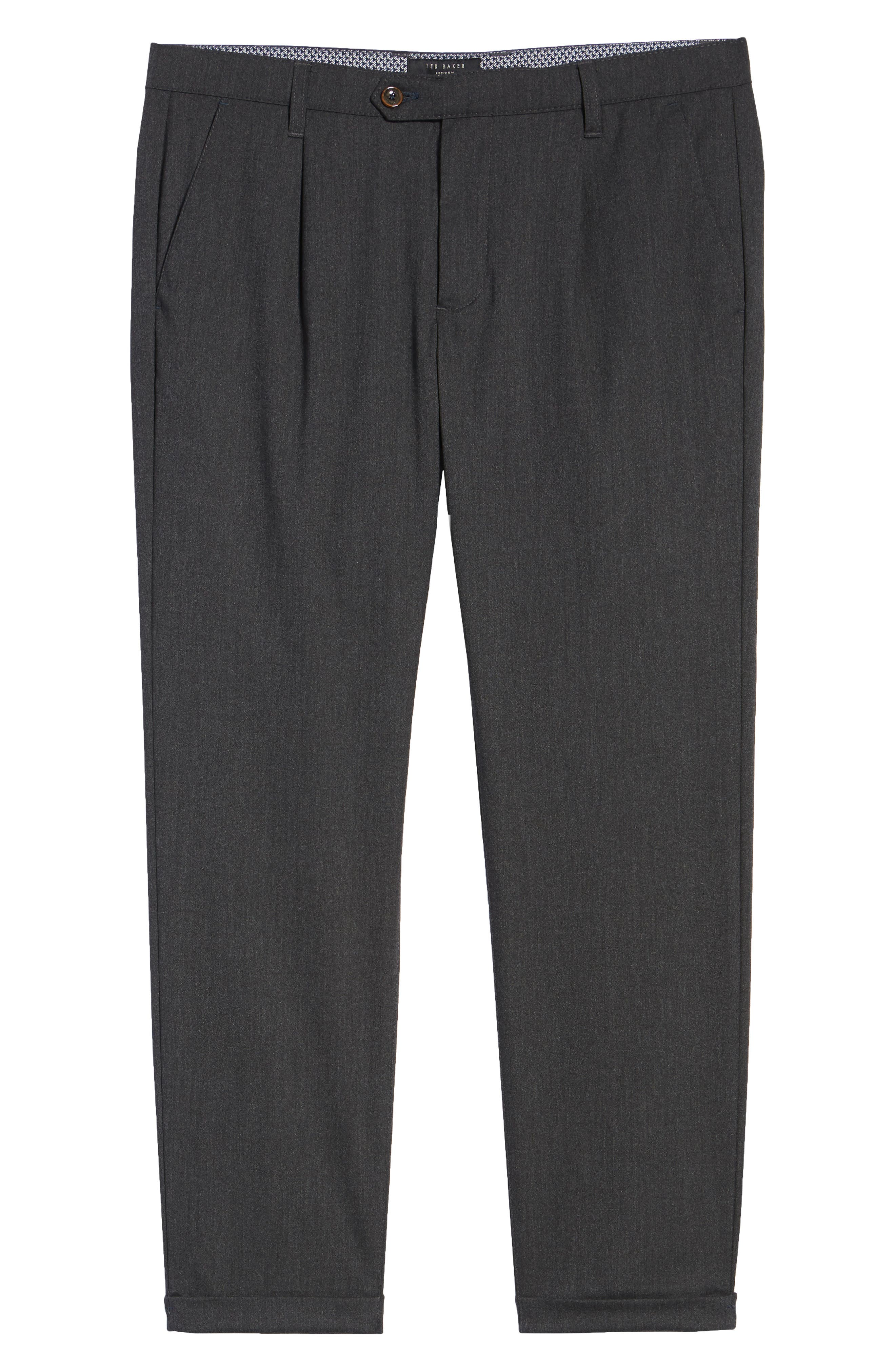 TED BAKER LONDON,                             Champi Pleated Cropped Pants,                             Alternate thumbnail 6, color,                             001