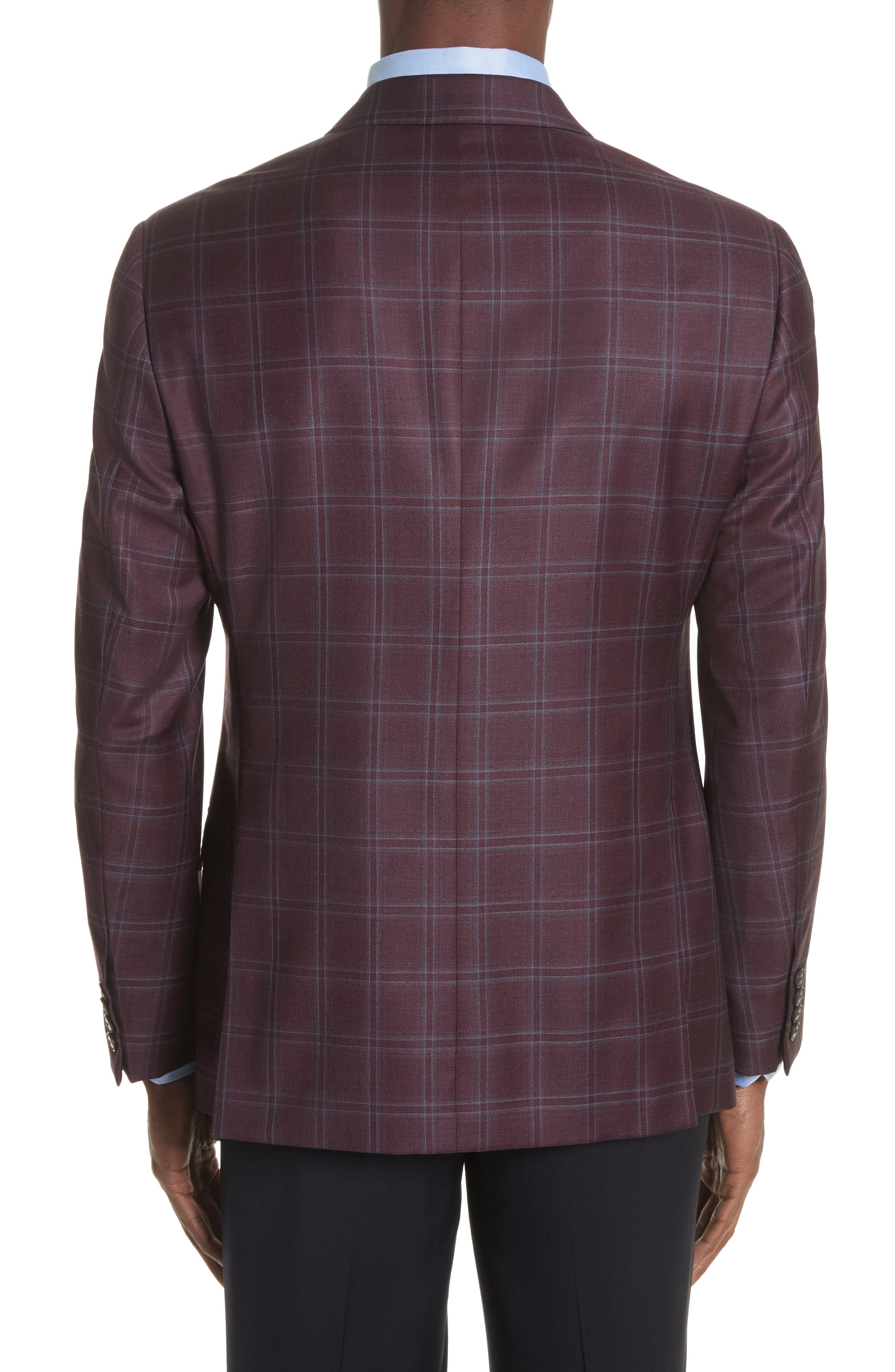 G Line Trim Fit Windowpane Wool Sport Coat,                             Alternate thumbnail 2, color,                             604