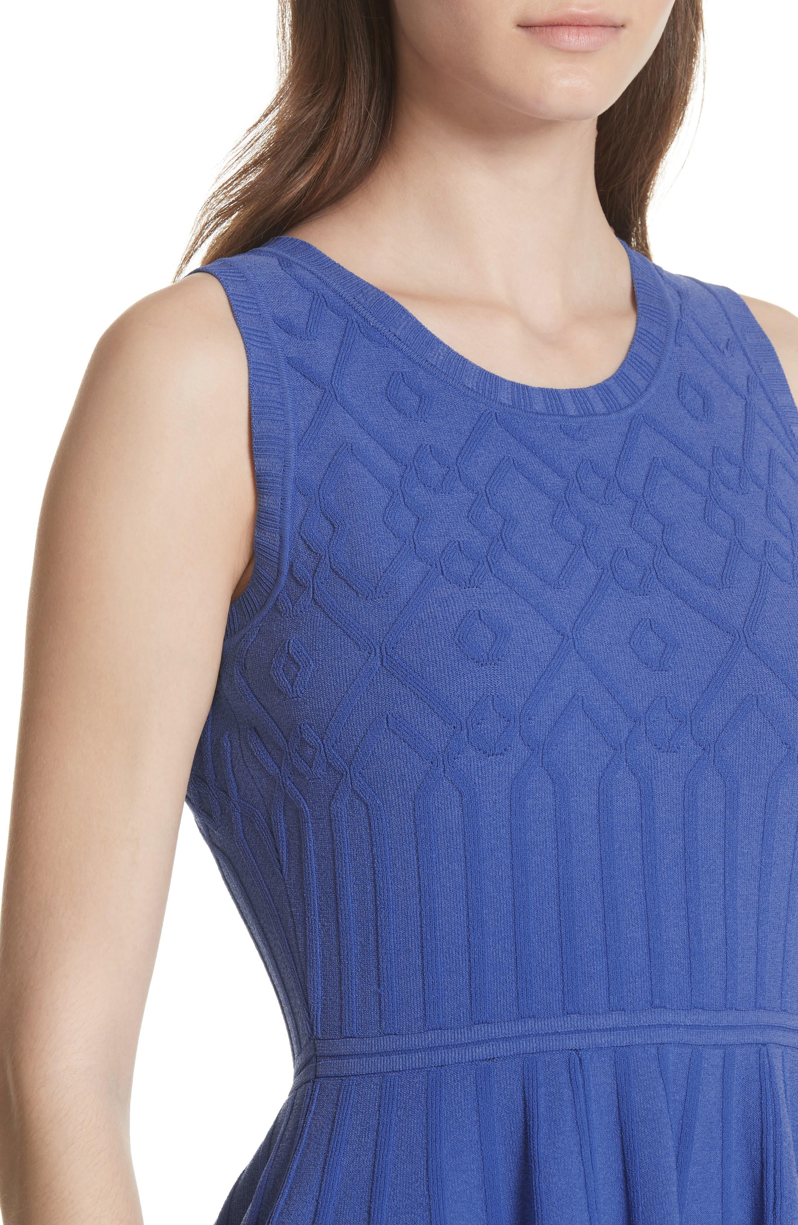 Mosaic Texture Knit Fit & Flare Dress,                             Alternate thumbnail 4, color,                             473