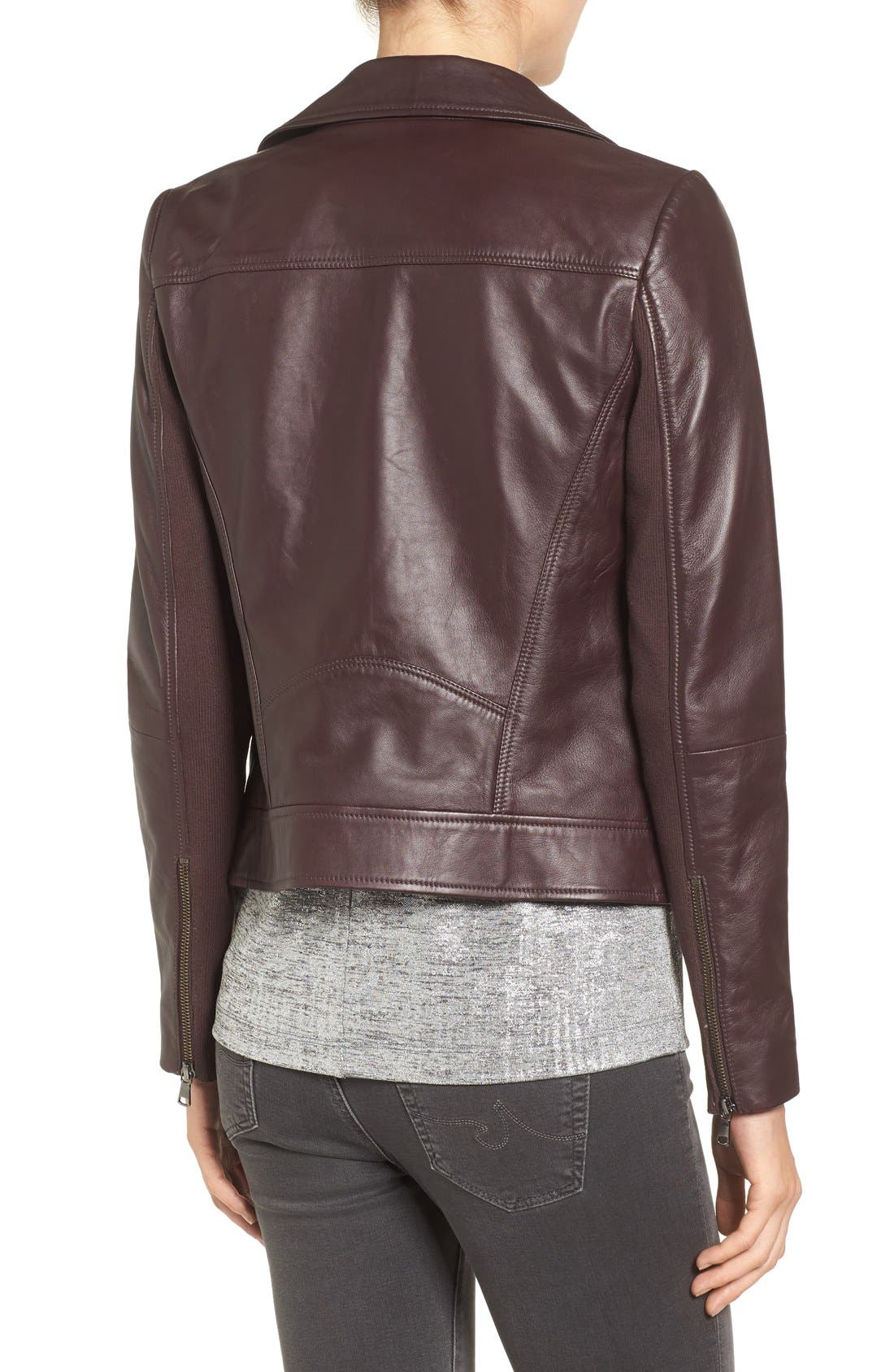 Leather Moto Jacket,                             Alternate thumbnail 3, color,                             201