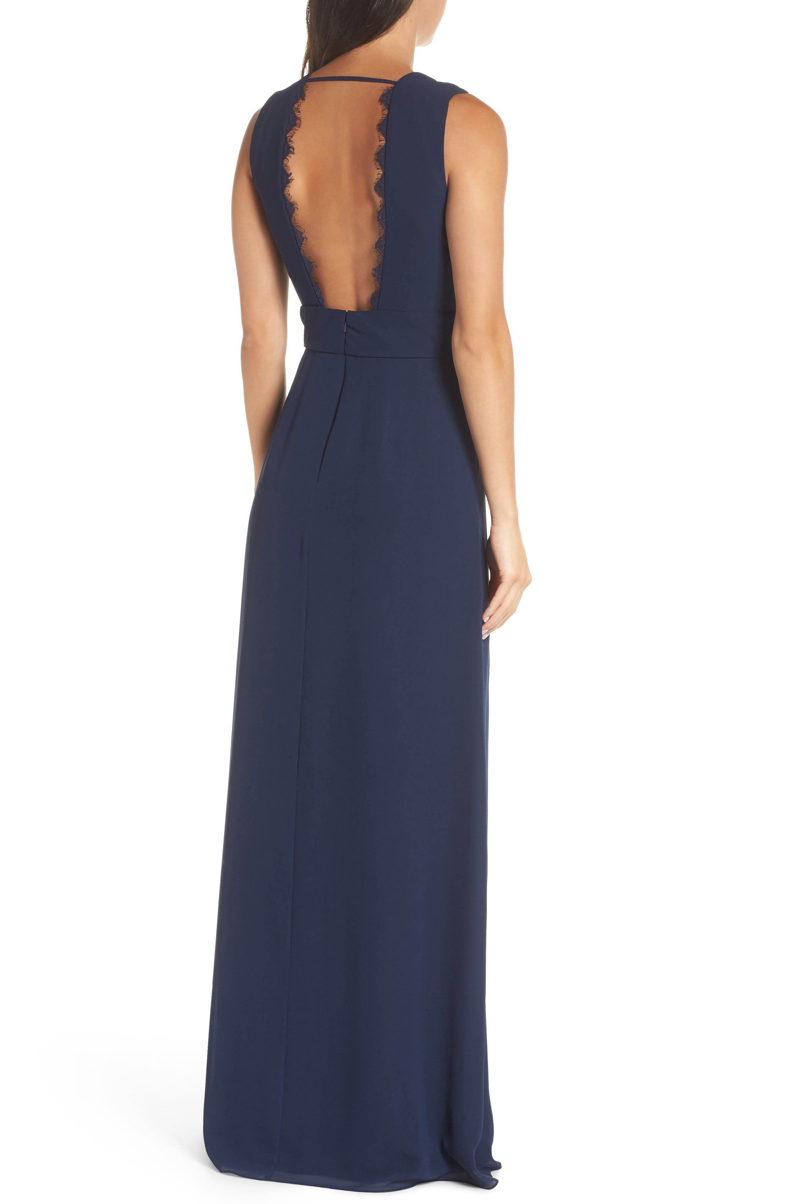 HAYLEY PAIGE OCCASIONS,                             Lace Inset Chiffon Gown,                             Alternate thumbnail 2, color,                             NAVY