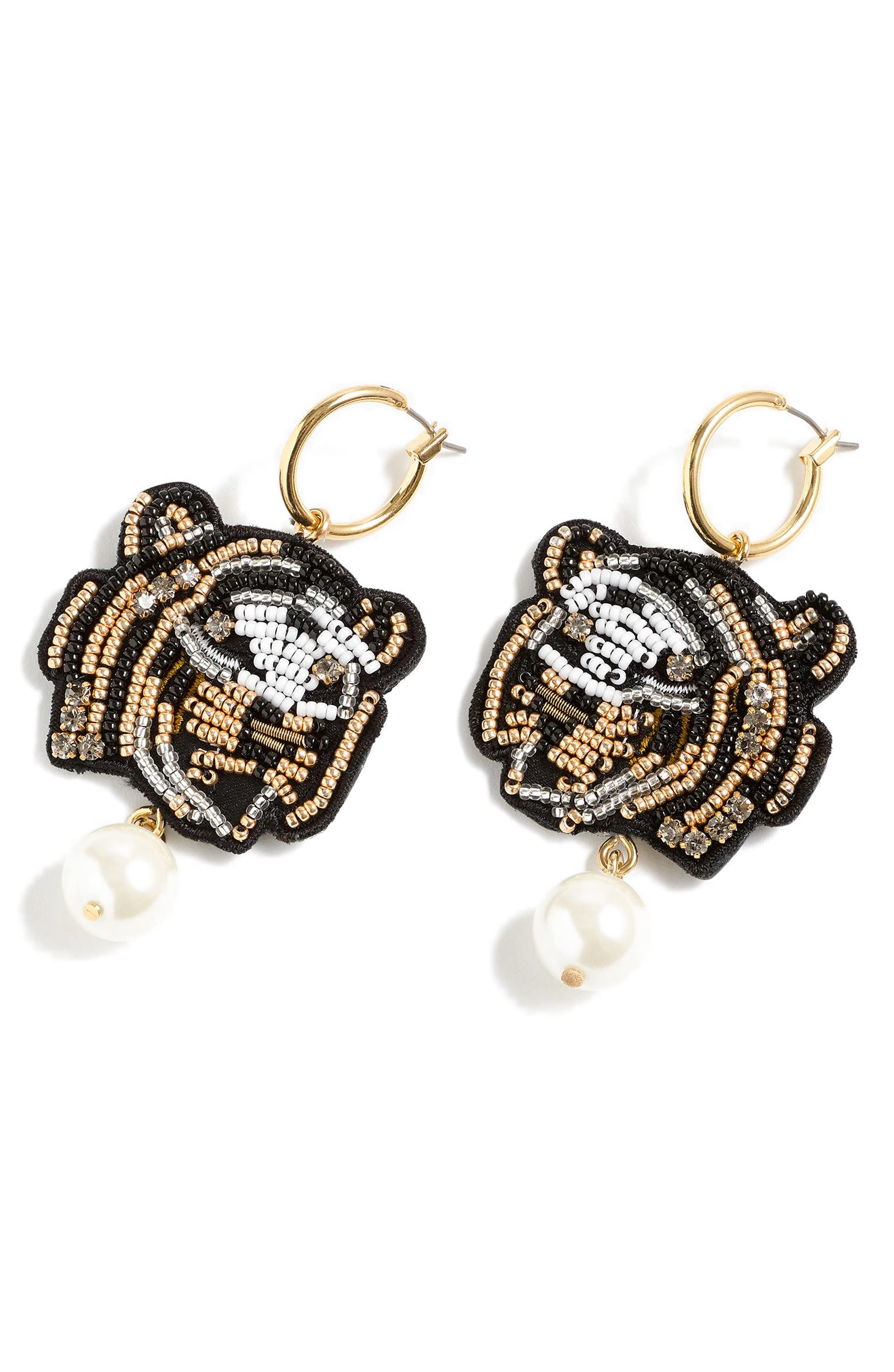 J.CREW Leather Back Beaded Tiger Earrings, Main, color, 710