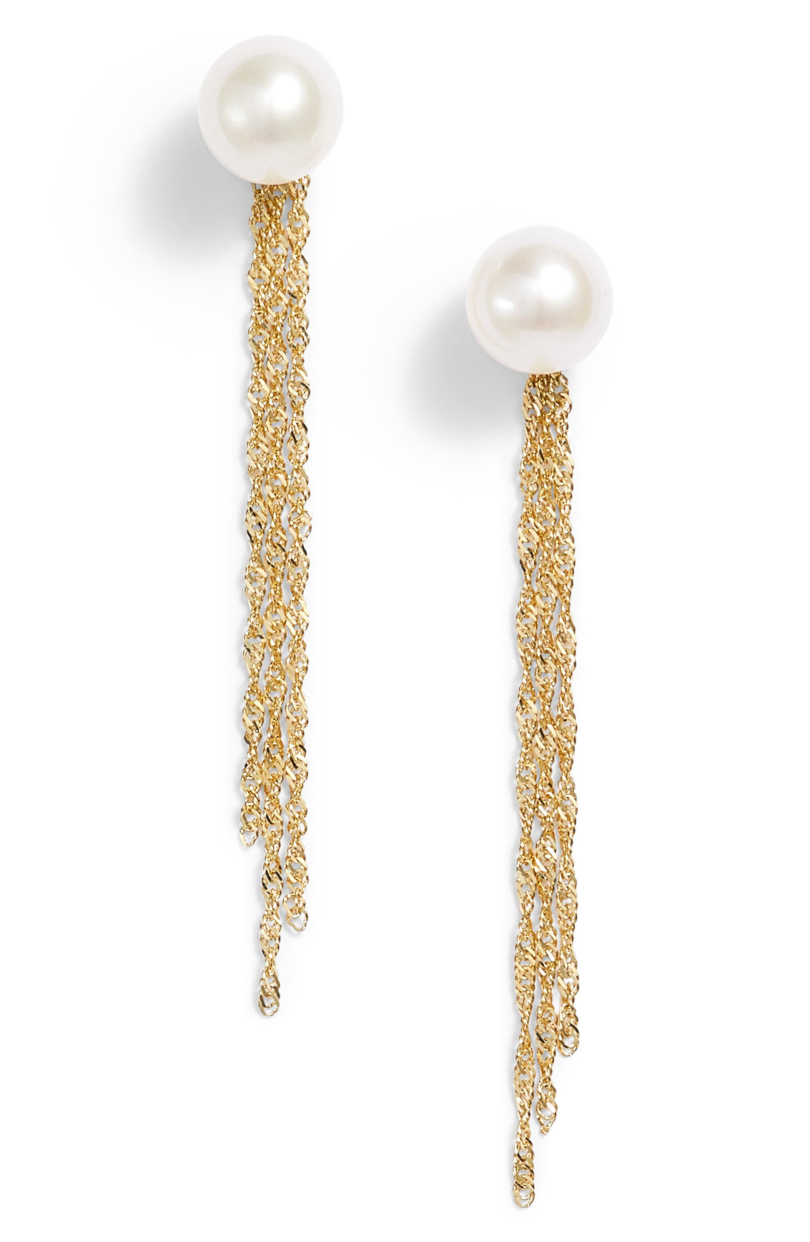 Gold Tassel Jacket Pearl Stud Earrings,                             Main thumbnail 1, color,                             YELLOW GOLD/ PEARL