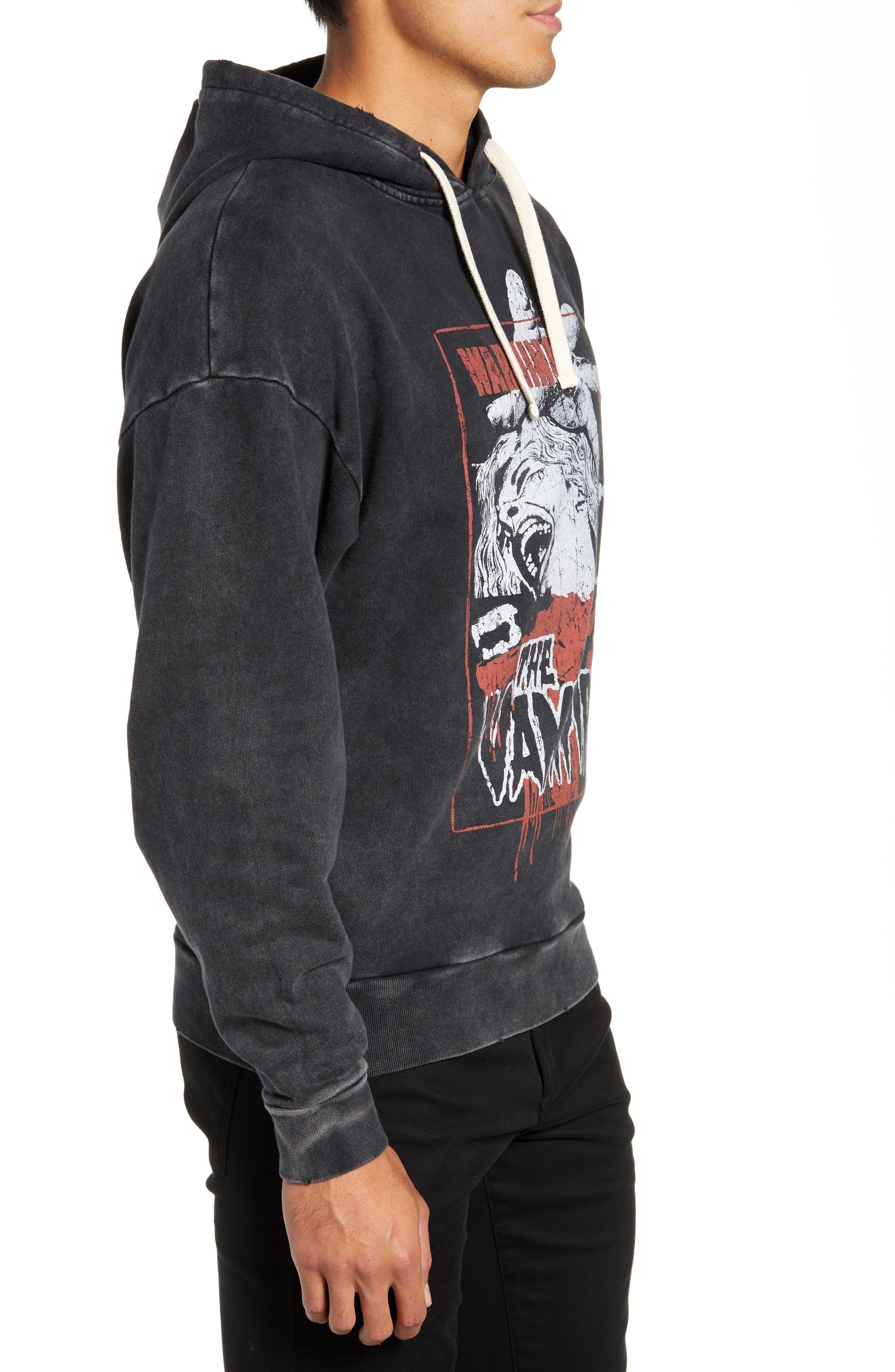 Vampire Graphic Hooded Sweatshirt,                             Alternate thumbnail 3, color,                             BLACK