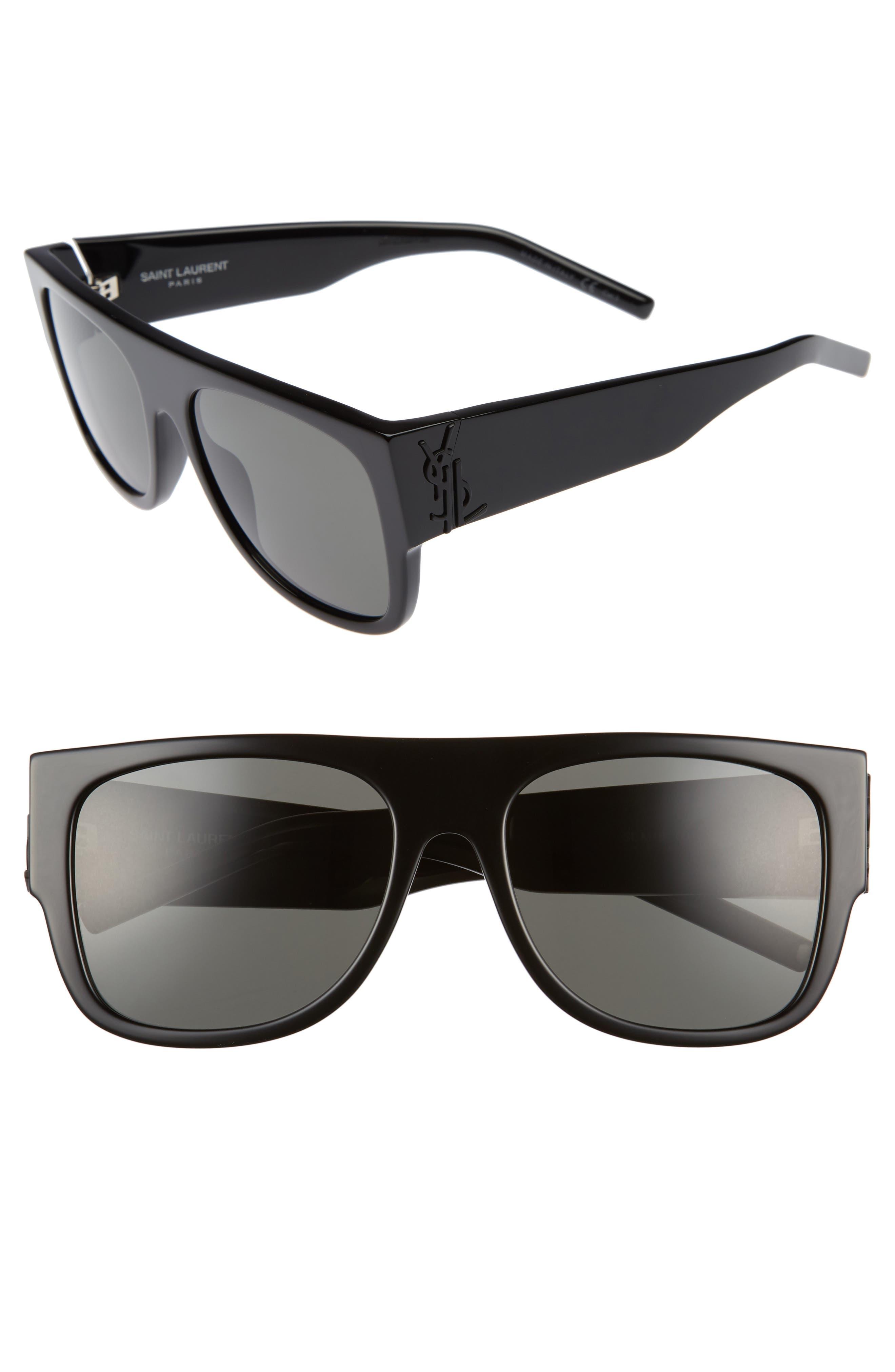 SL M16 55mm Flat Top Sunglasses,                             Main thumbnail 1, color,                             001