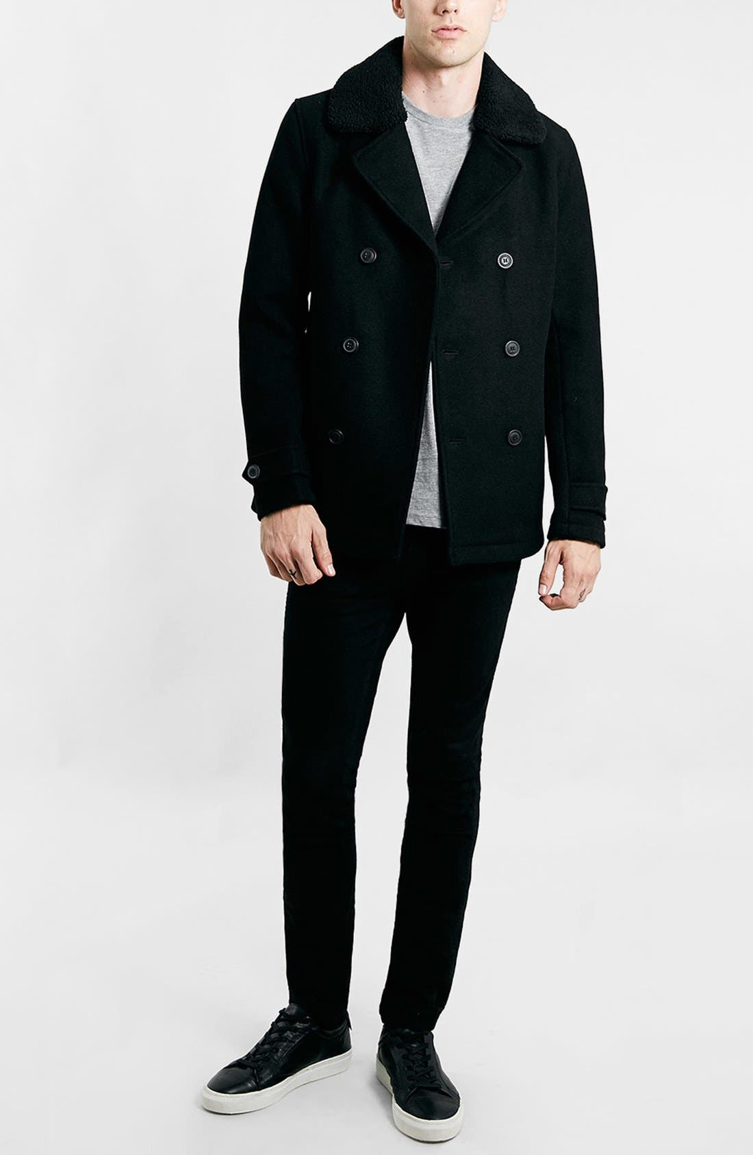 TOPMAN,                             Peacoat with Removable Faux Fur Collar,                             Alternate thumbnail 3, color,                             001