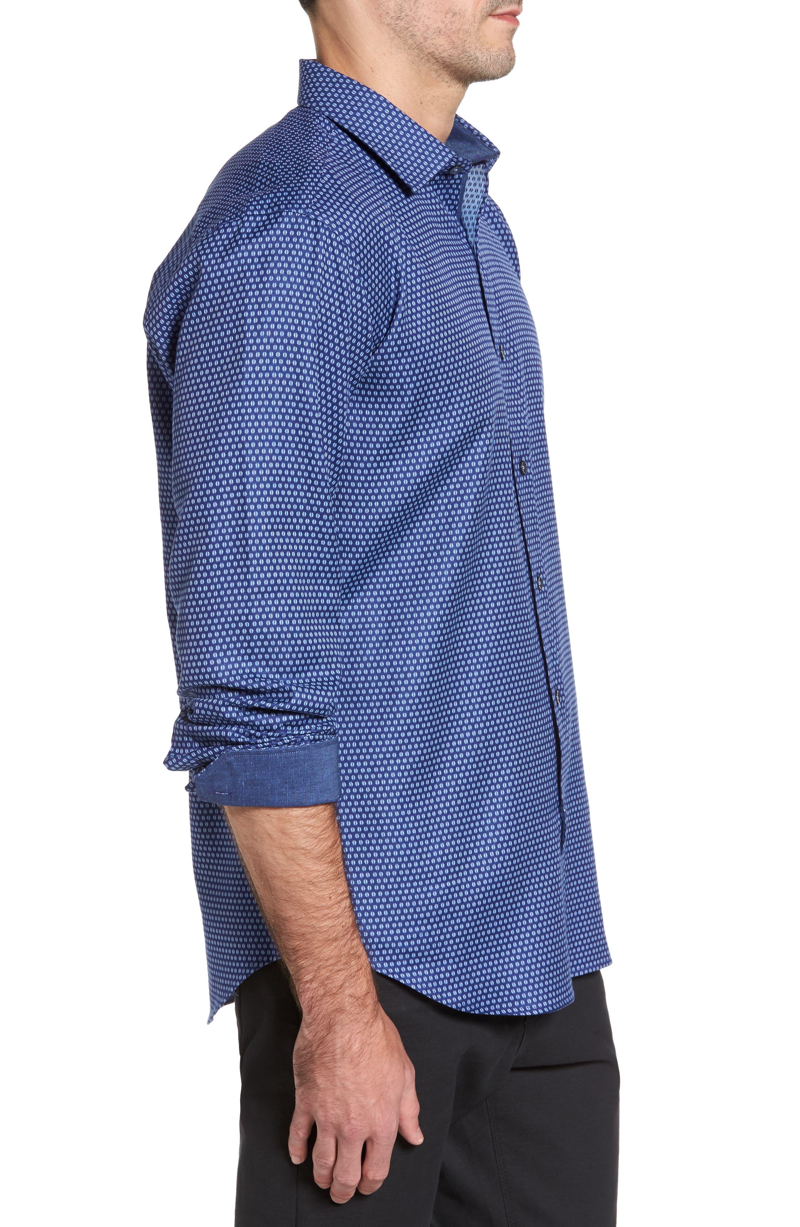 Shaped Fit Print Sport Shirt,                             Alternate thumbnail 3, color,                             408