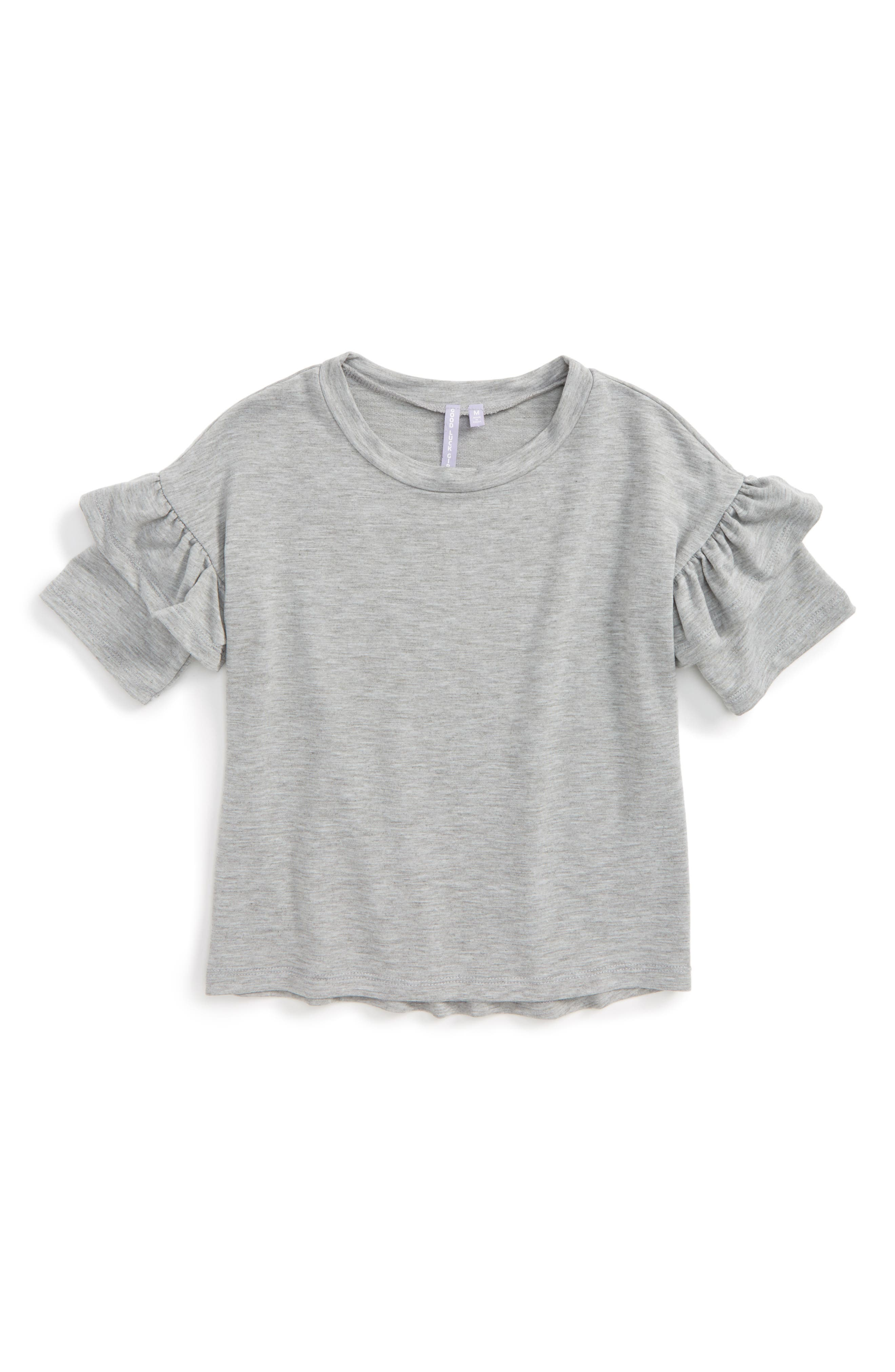 Ruffle Sleeve Tee,                         Main,                         color, 030