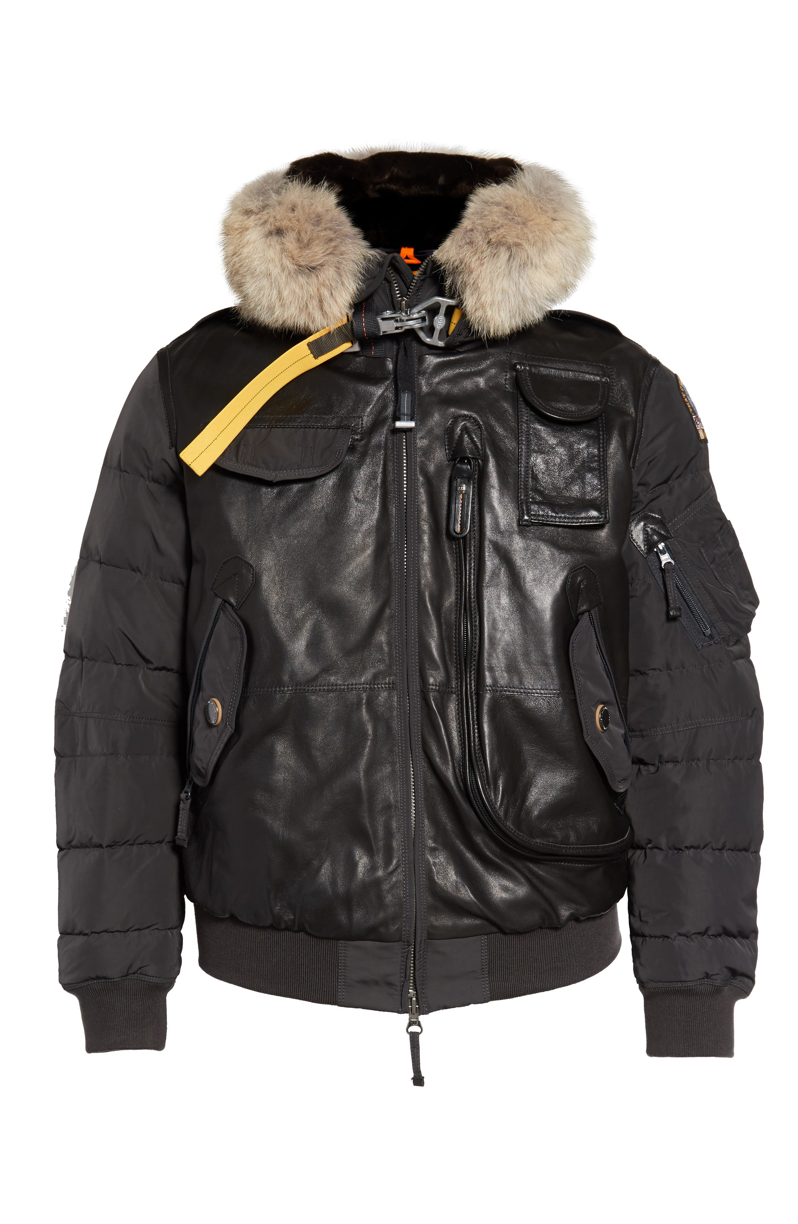 Grizzly Down Bomber Jacket with Genuine Coyote Fur Trim,                             Alternate thumbnail 5, color,                             ANTHRACITE