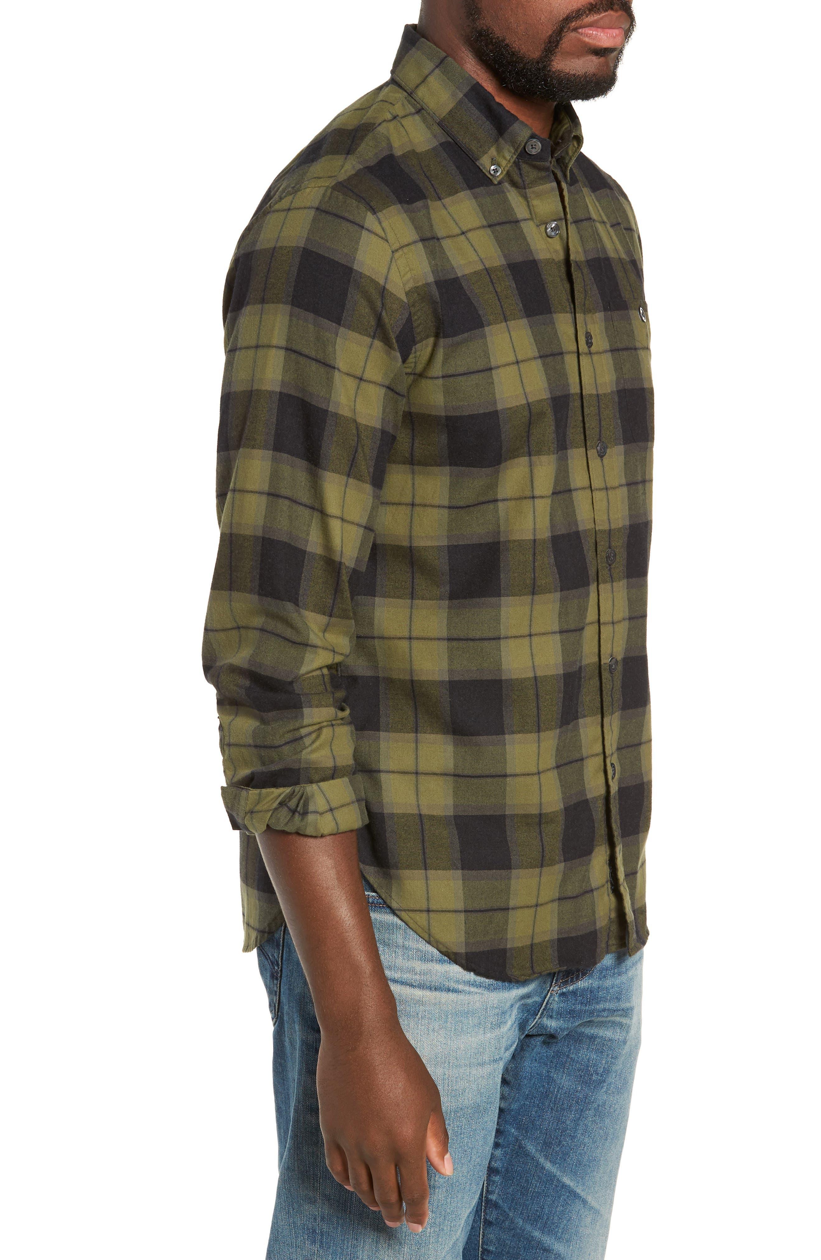 Classic Fit Plaid Flannel Sport Shirt,                             Alternate thumbnail 4, color,                             OLIVE