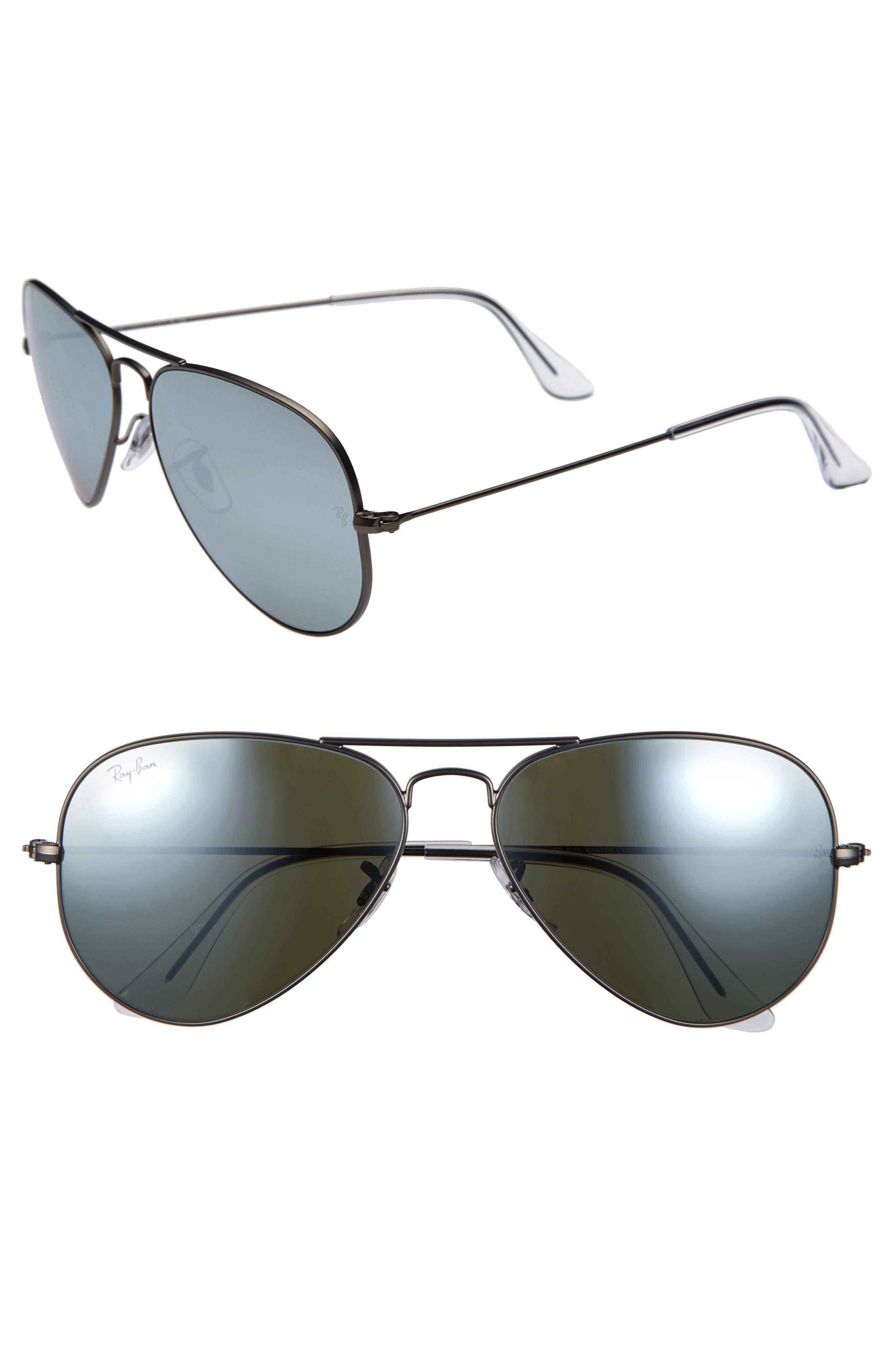 Original Aviator 58mm Sunglasses,                         Main,                         color, MATTE GUN/ SILVER GREEN MIRROR