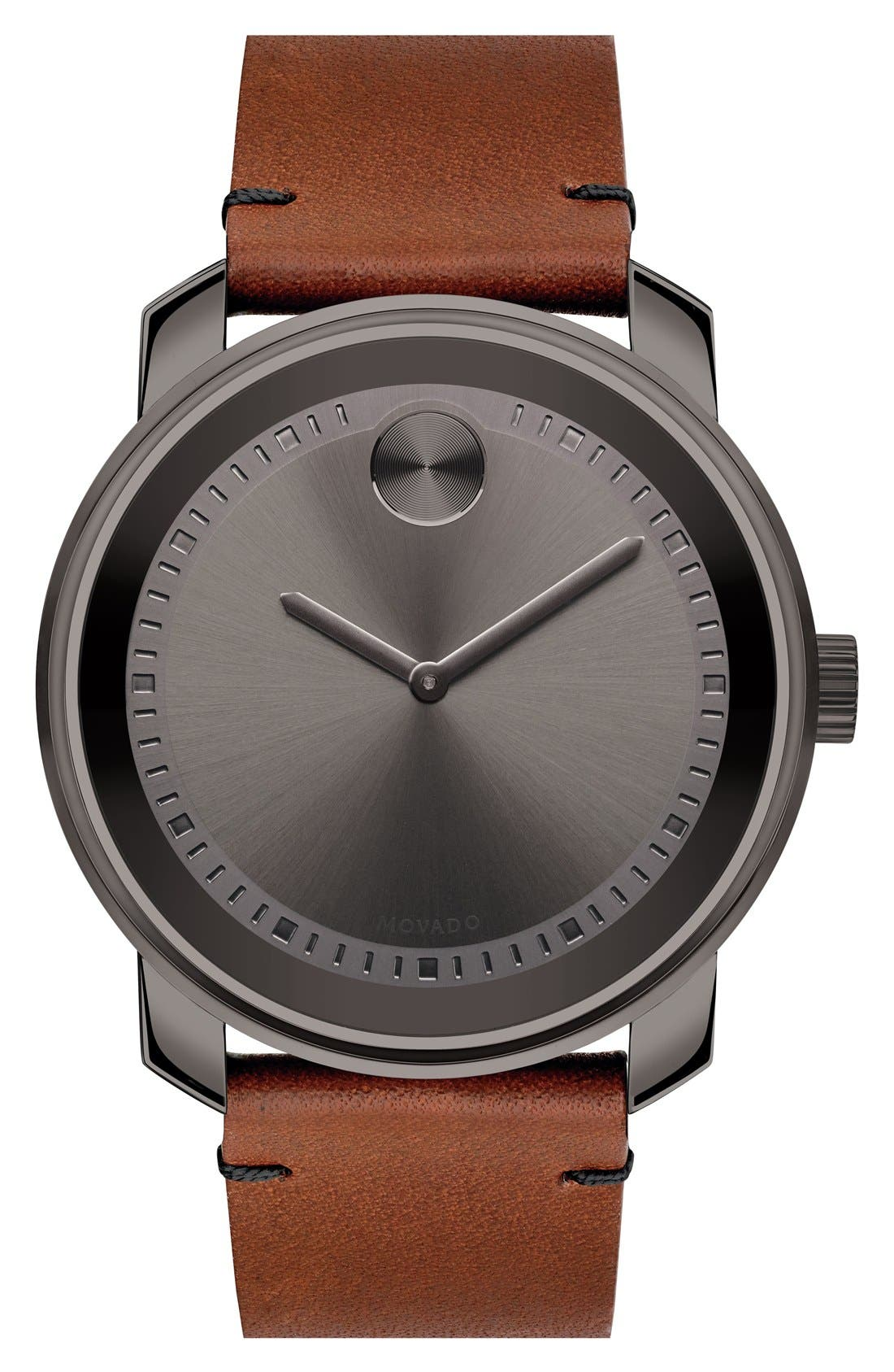 'Bold' Leather Strap Watch, 42mm,                             Main thumbnail 1, color,