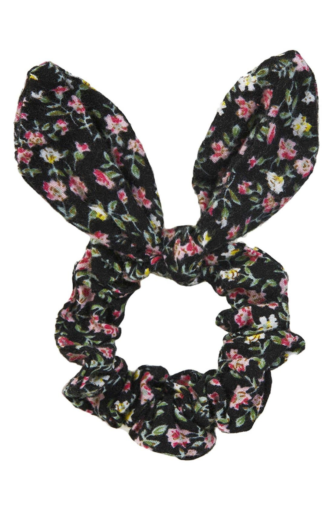 Ditsy Floral Bunny Ears Scrunchie, Main, color, 001