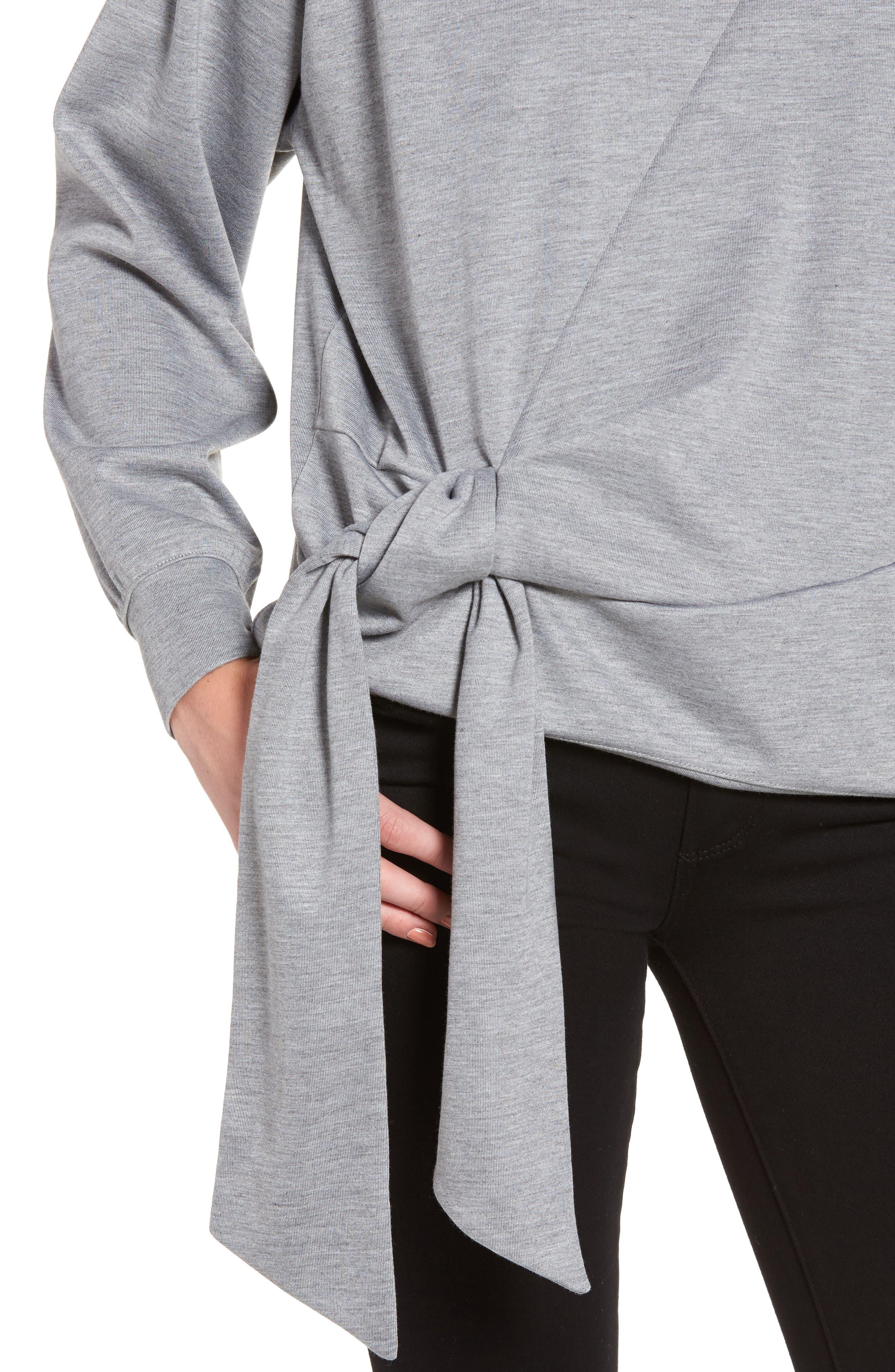 Tie Front Sweatshirt,                             Alternate thumbnail 4, color,                             030
