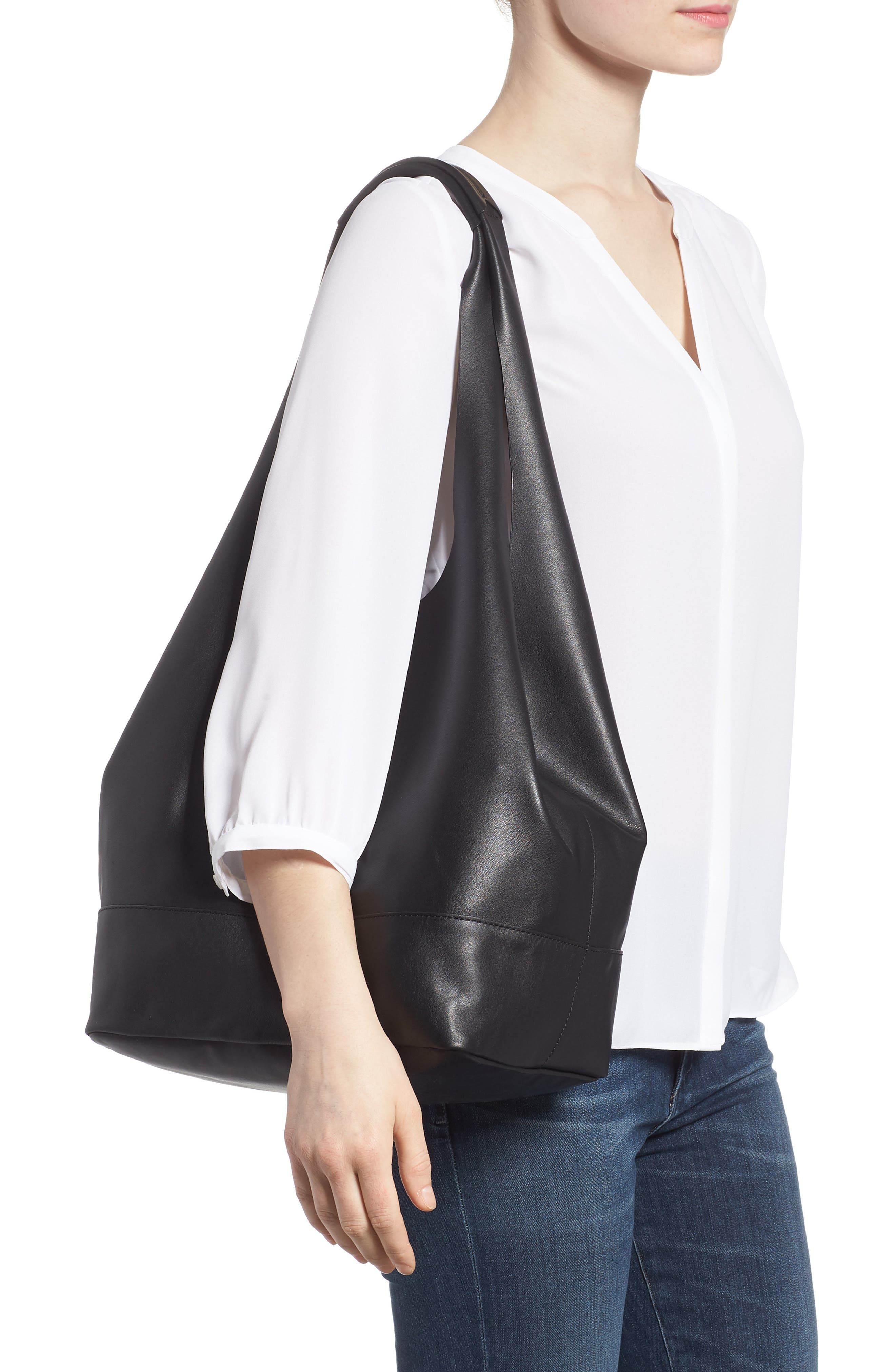 Camden Leather Tote,                             Alternate thumbnail 2, color,                             BLACK
