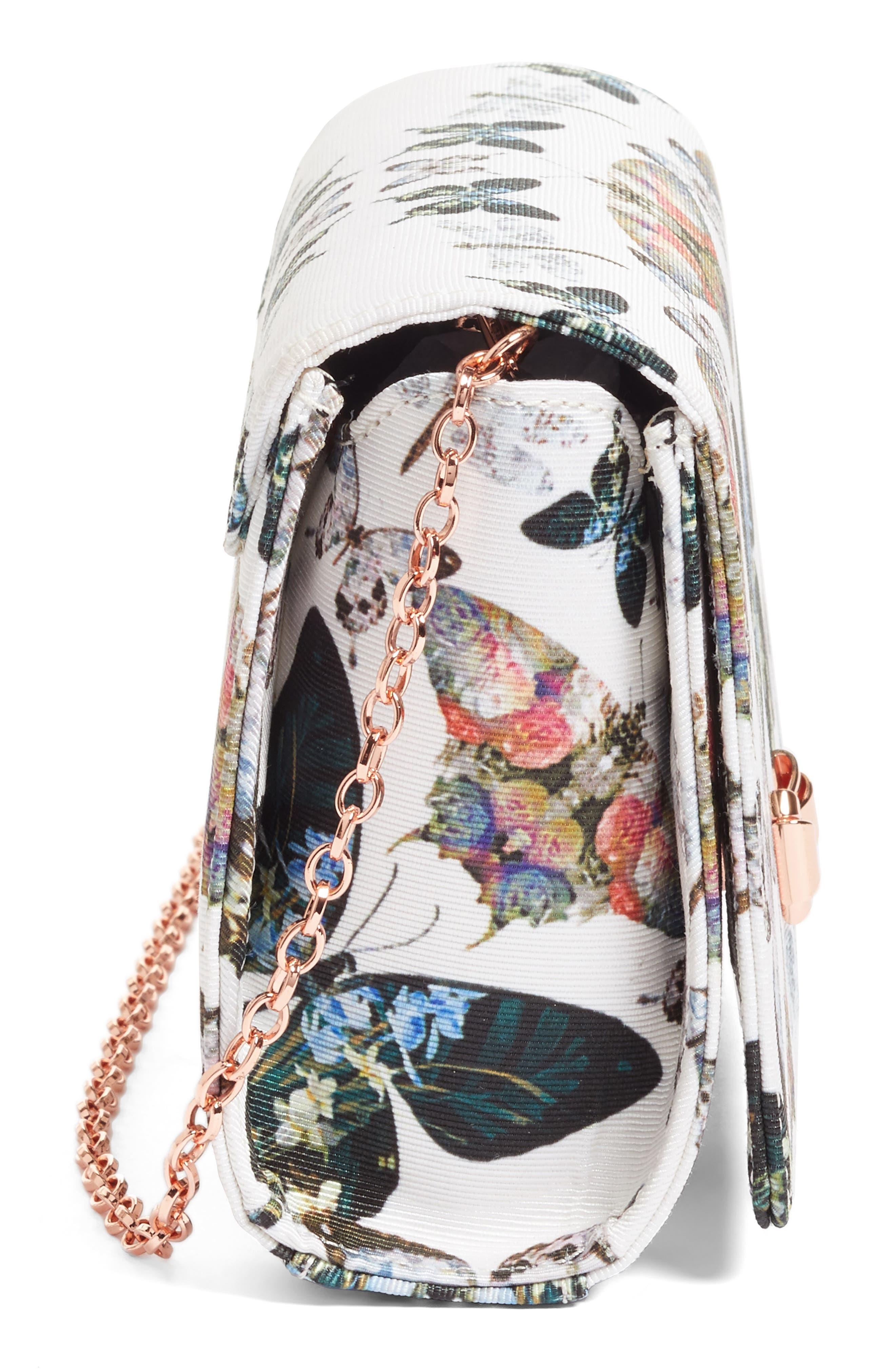 Strisa Butterfly Print Clutch,                             Alternate thumbnail 5, color,                             900