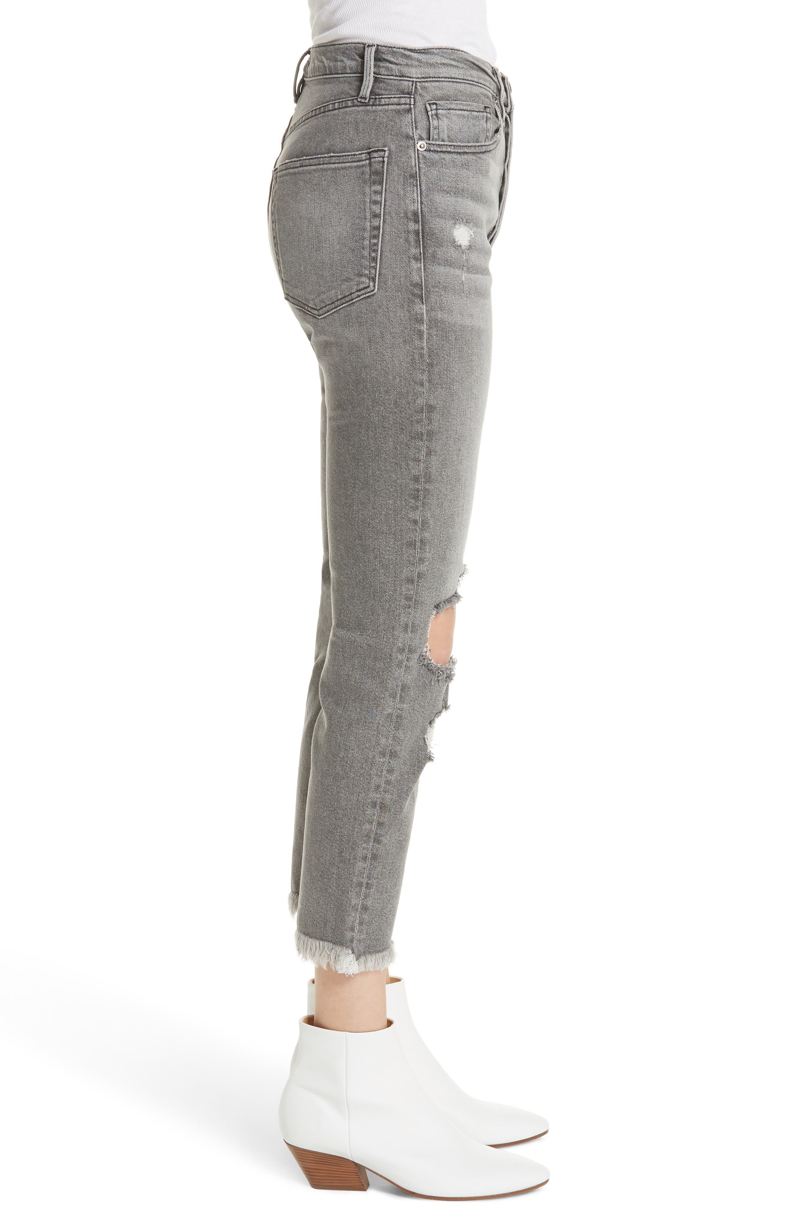 Le Original High Waist Raw Edge Jeans,                             Alternate thumbnail 3, color,                             COLD ASH