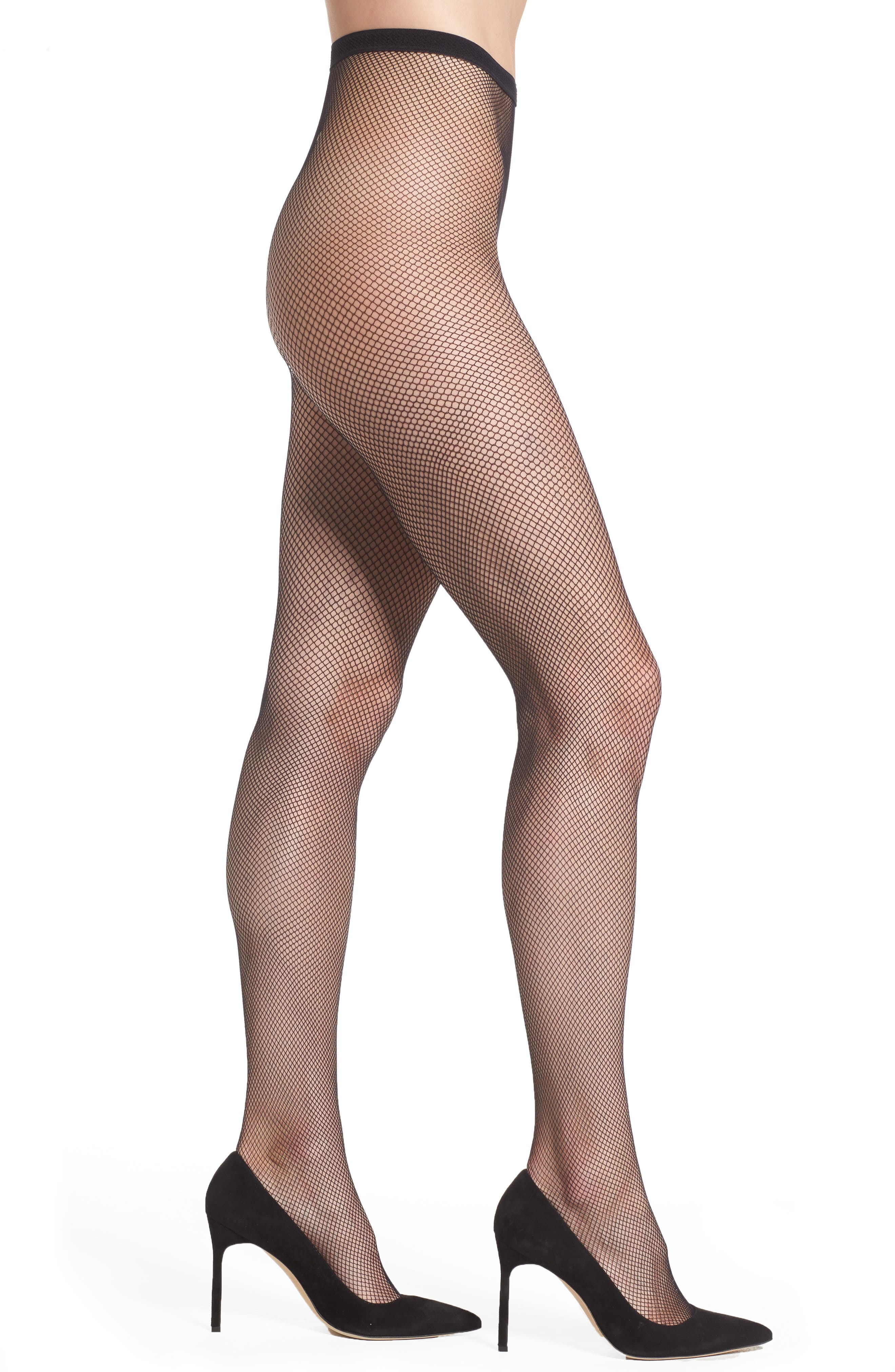 Tricot Fishnet Tights,                         Main,                         color, BLACK