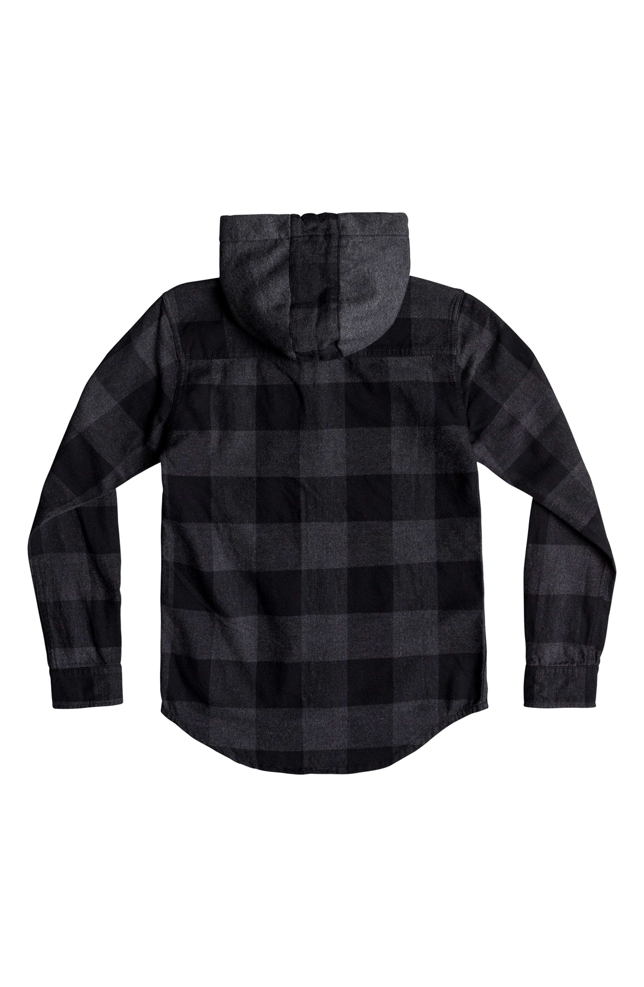 Motherfly Hooded Flannel Shirt,                             Alternate thumbnail 2, color,                             BLACK