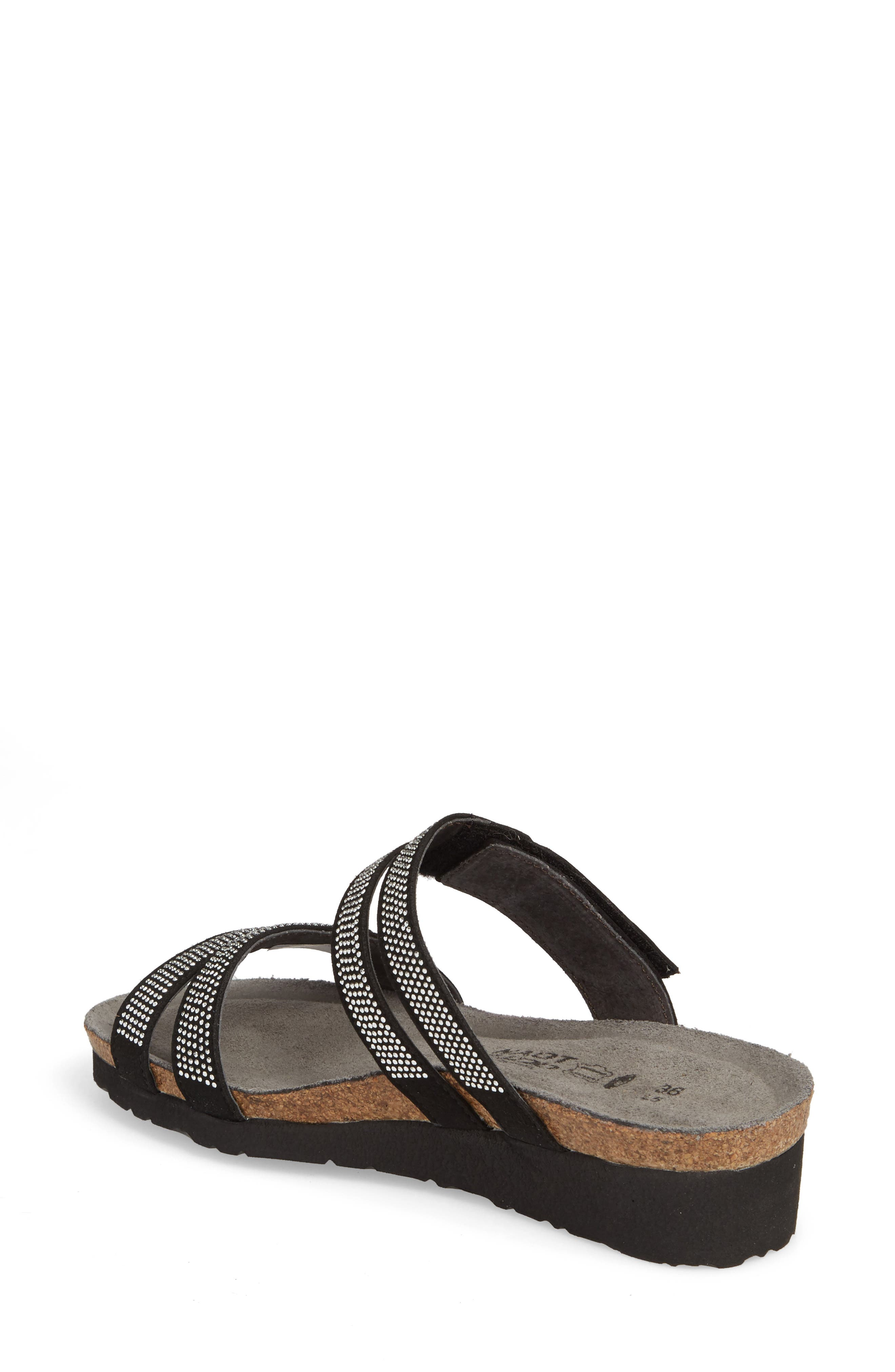 Ainsley Studded Slide Sandal,                             Alternate thumbnail 2, color,                             BLACK NUBUCK