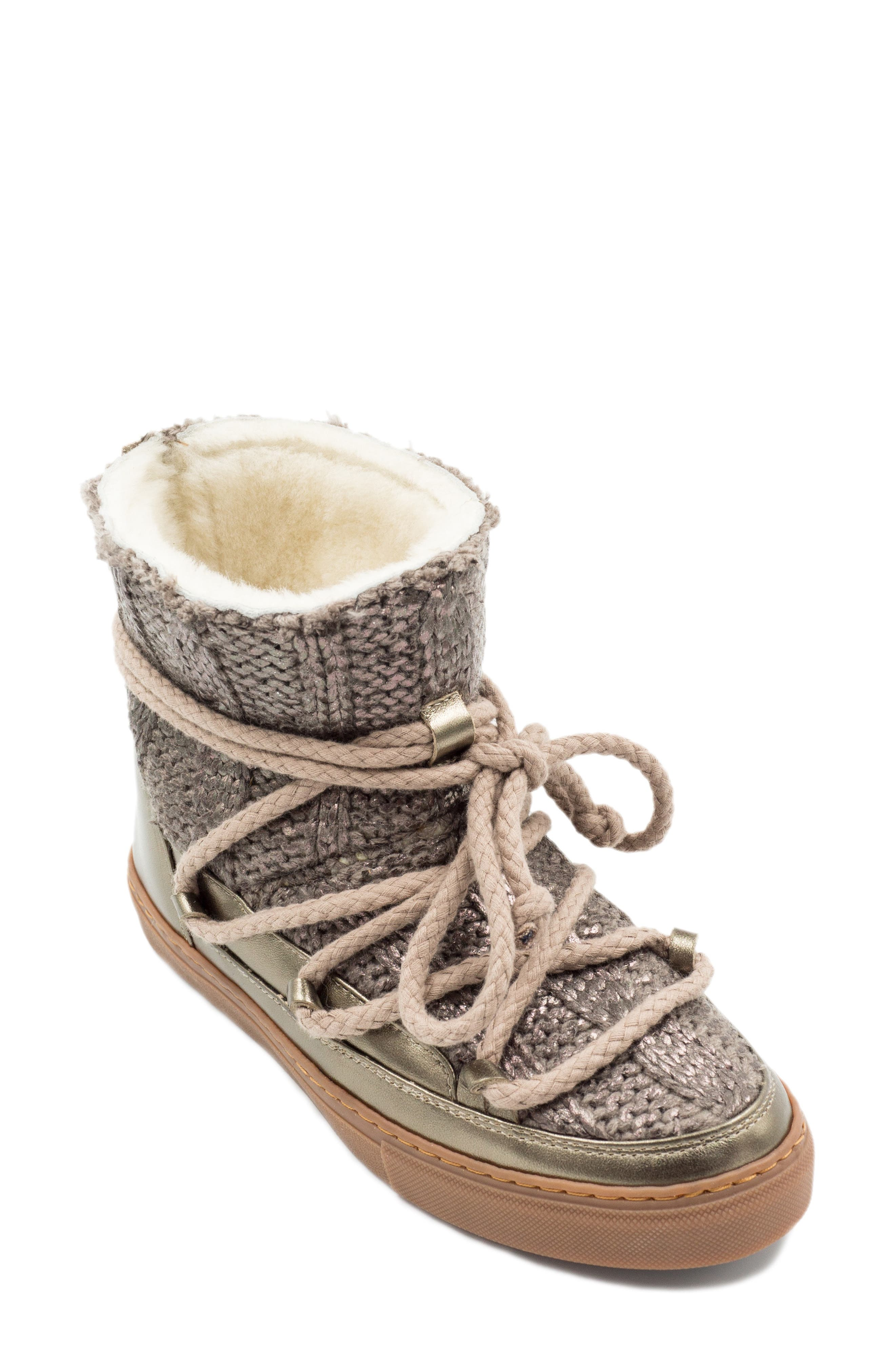 Inuikii Galway Genuine Sheepskin Sneaker Boot, Metallic