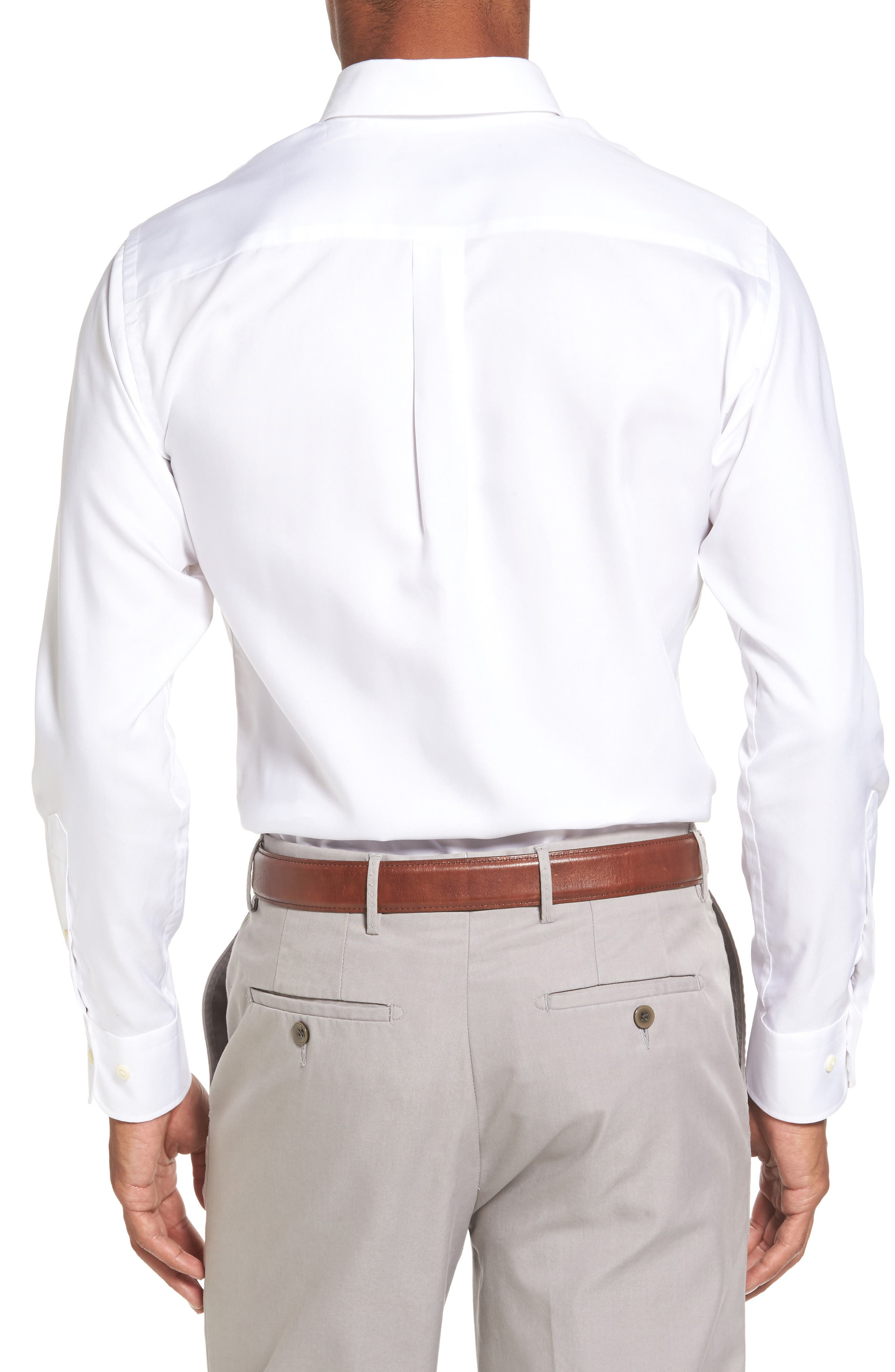 Crown Soft Pinpoint Regular Fit Sport Shirt,                             Alternate thumbnail 2, color,                             WHITE