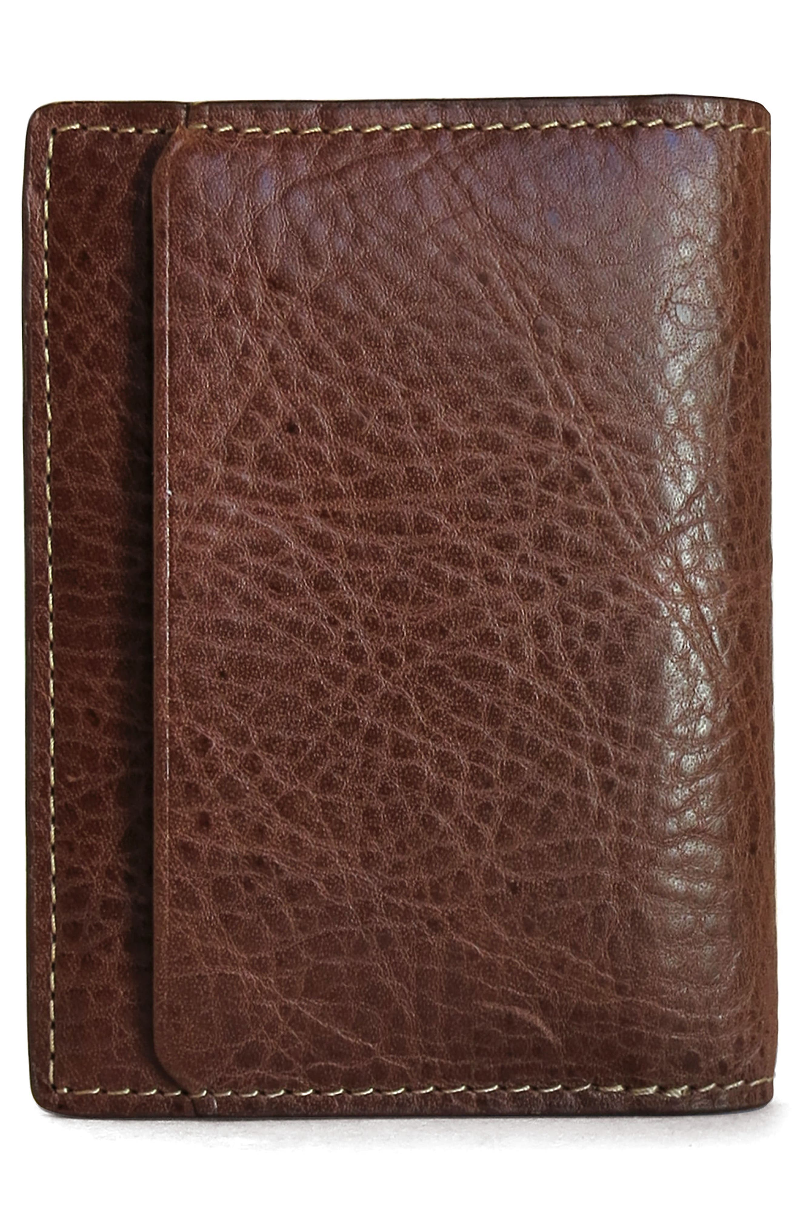 Caleb Leather Folding Card Case,                             Alternate thumbnail 3, color,                             CHESTNUT
