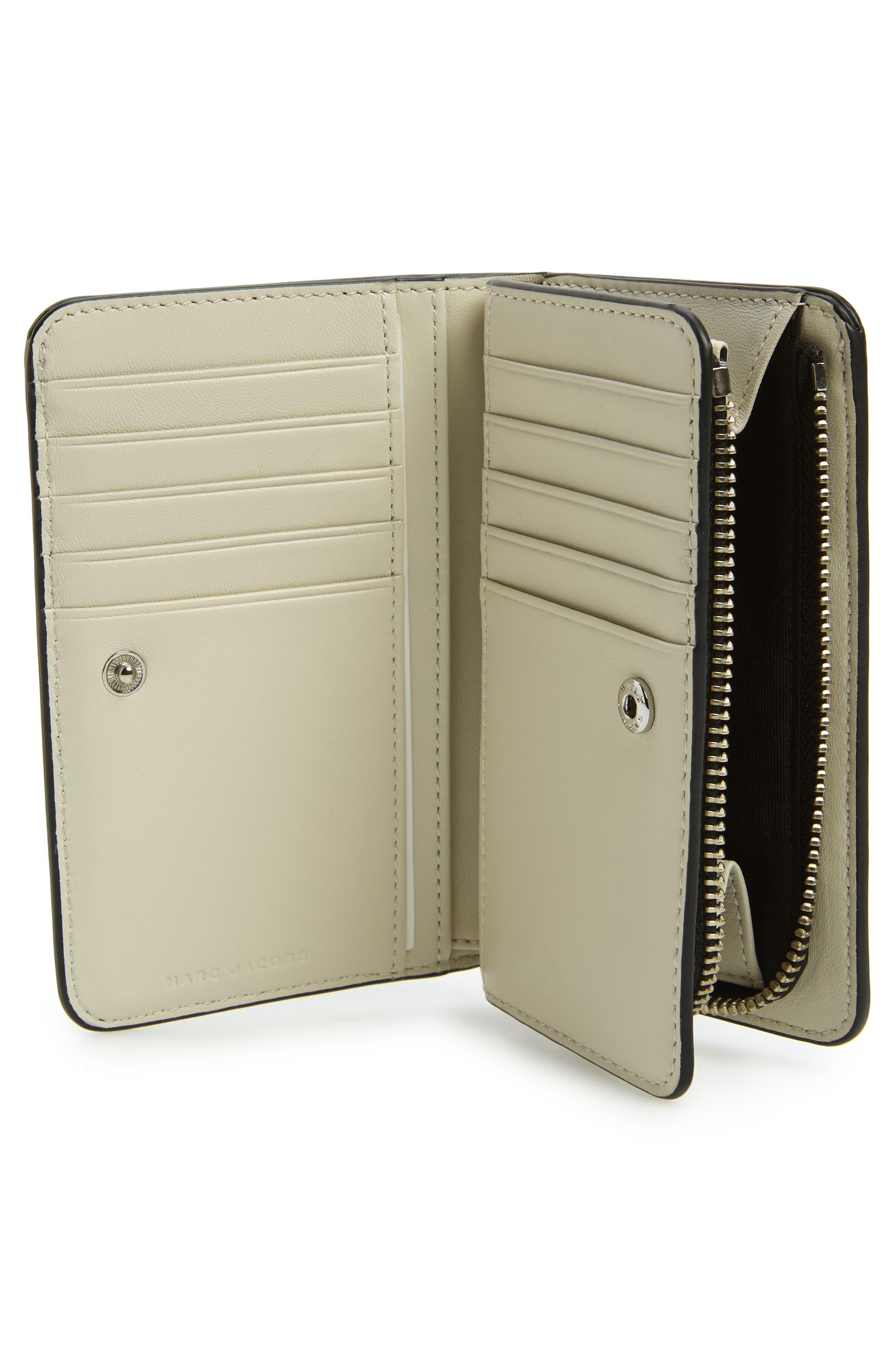 Sport Compact Leather Wallet,                             Alternate thumbnail 2, color,                             BLACK/ WHITE