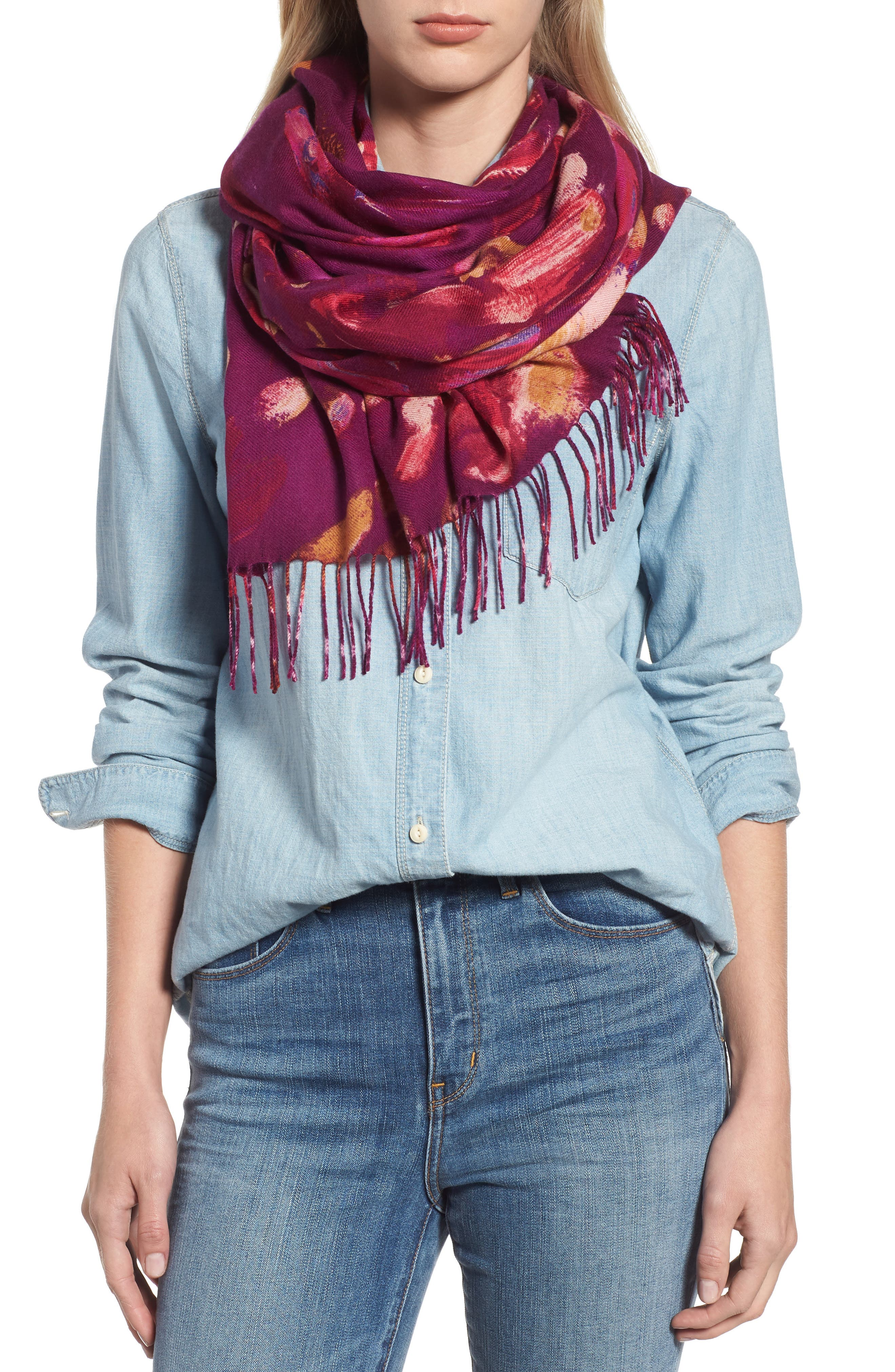Tissue Print Wool & Cashmere Wrap Scarf,                             Main thumbnail 33, color,
