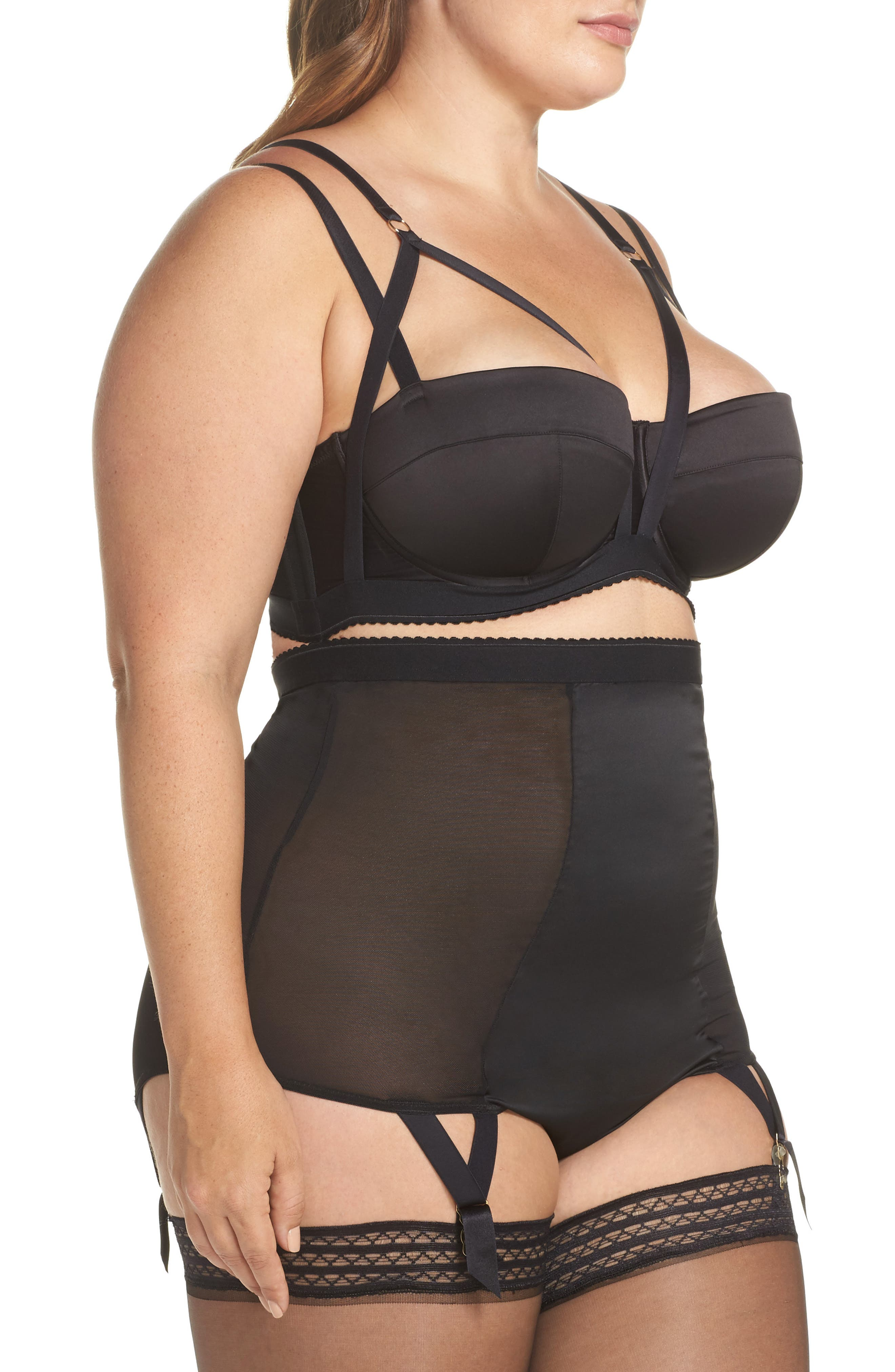 Playful Promies Candace Noir Strappy Underwire Bra,                             Alternate thumbnail 8, color,